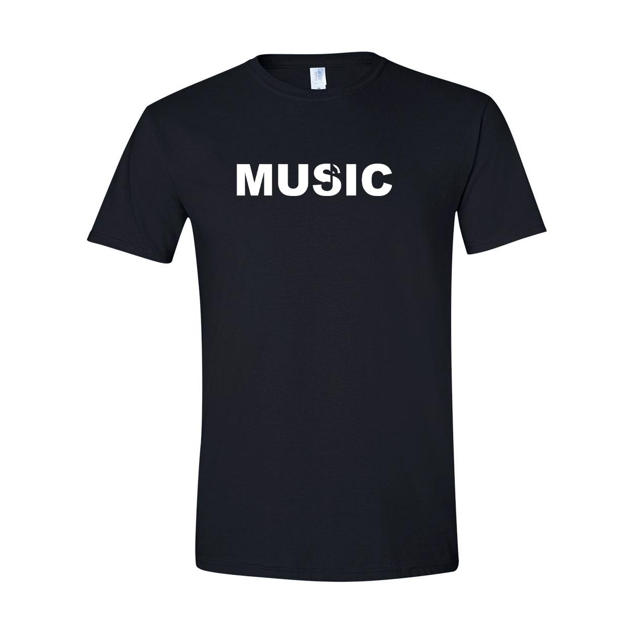 Music Note Logo Classic T-Shirt Black (White Logo)