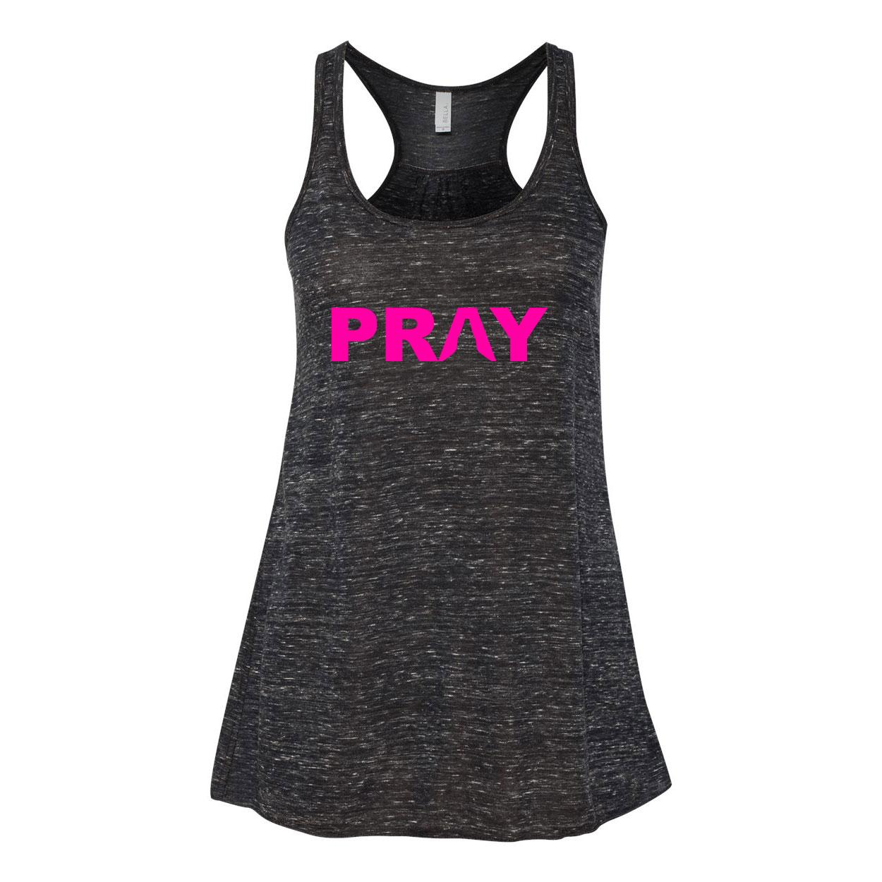 Pray Hands Logo Classic Women's Flowy Racerback Tank Top Black Marble (Pink Logo)