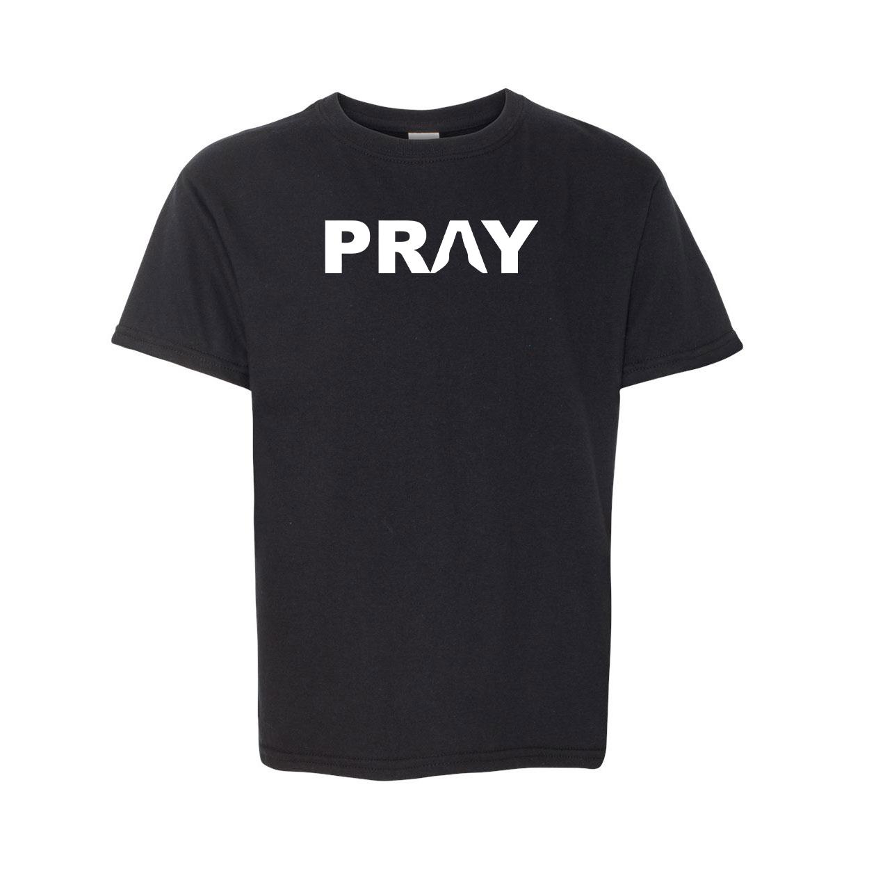 Pray Hands Logo Classic Youth T-Shirt Black (White Logo)