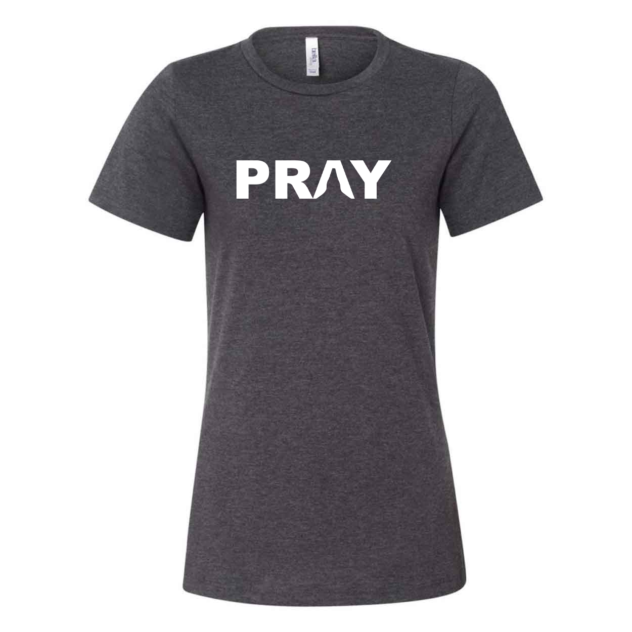 Pray Hands Logo Classic Women's Relaxed Jersey T-Shirt Dark Gray Heather (White Logo)