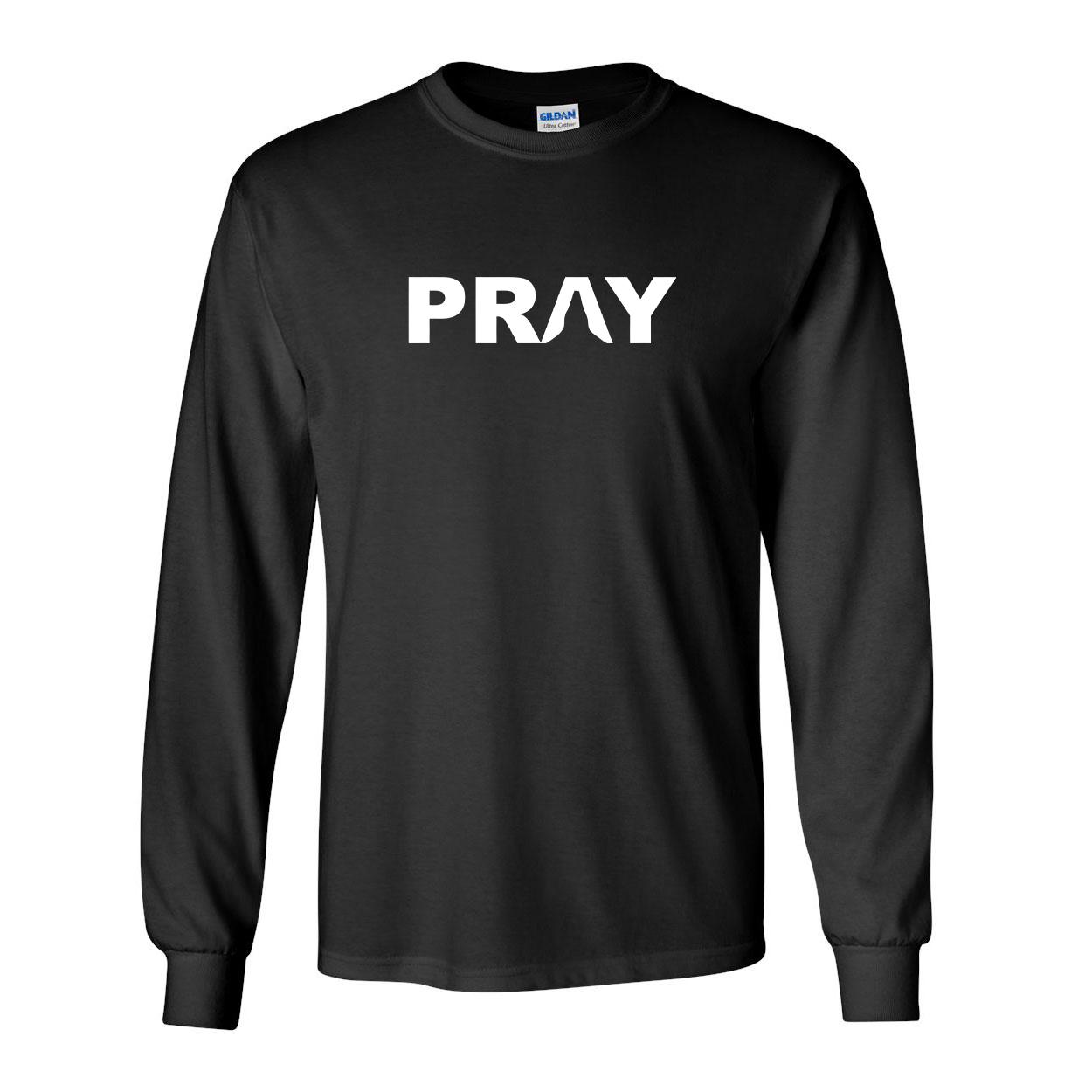 Pray Hands Logo Classic Long Sleeve T-Shirt Black (White Logo)