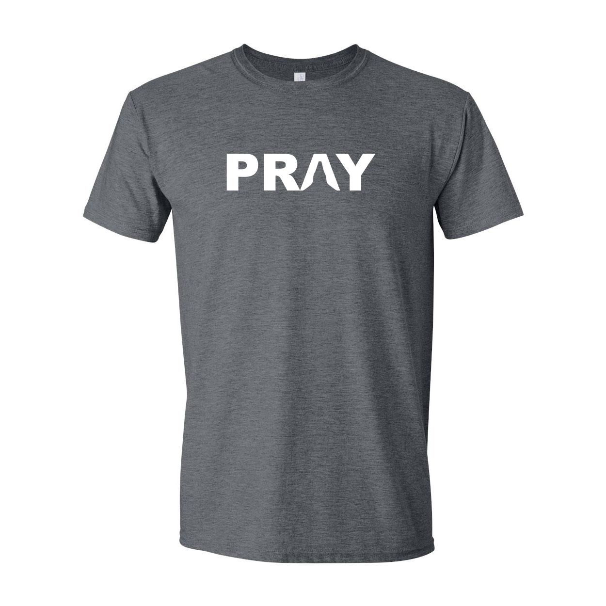 Pray Hands Logo Classic T-Shirt Dark Heather Gray (White Logo)