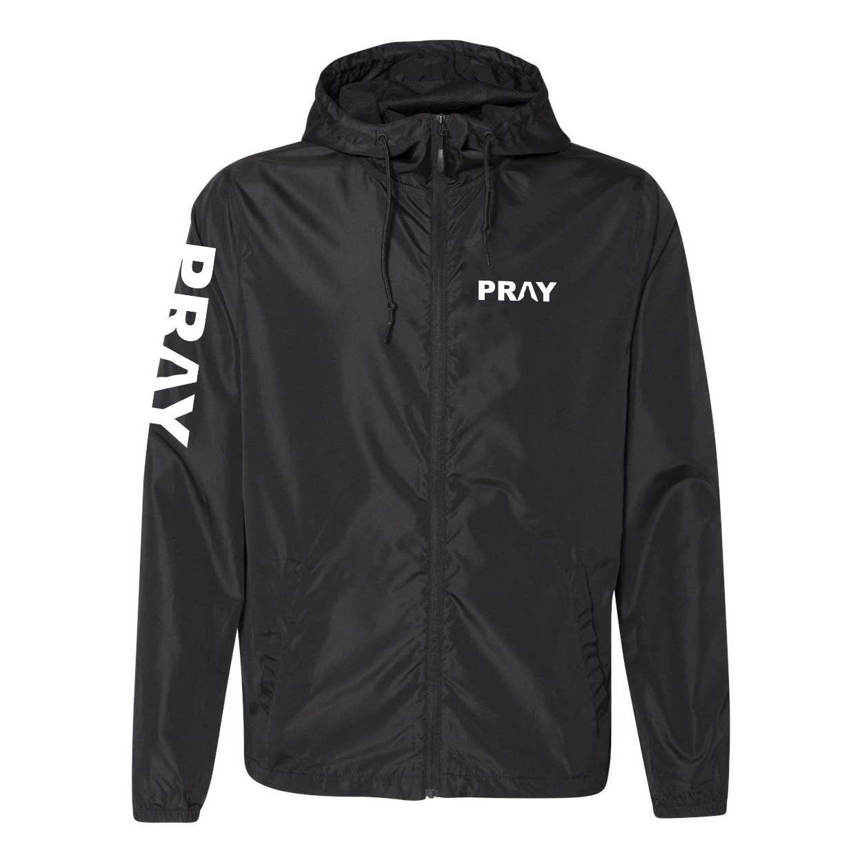 Pray Hands Logo Classic Lightweight Windbreaker Black (White Logo)