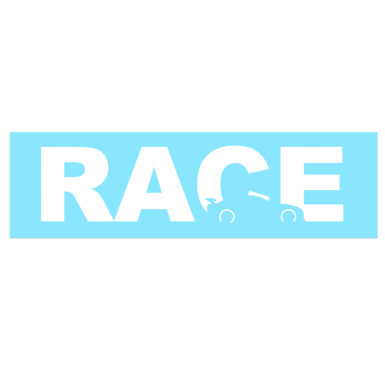 Race Car Logo Classic Decal (White Logo)