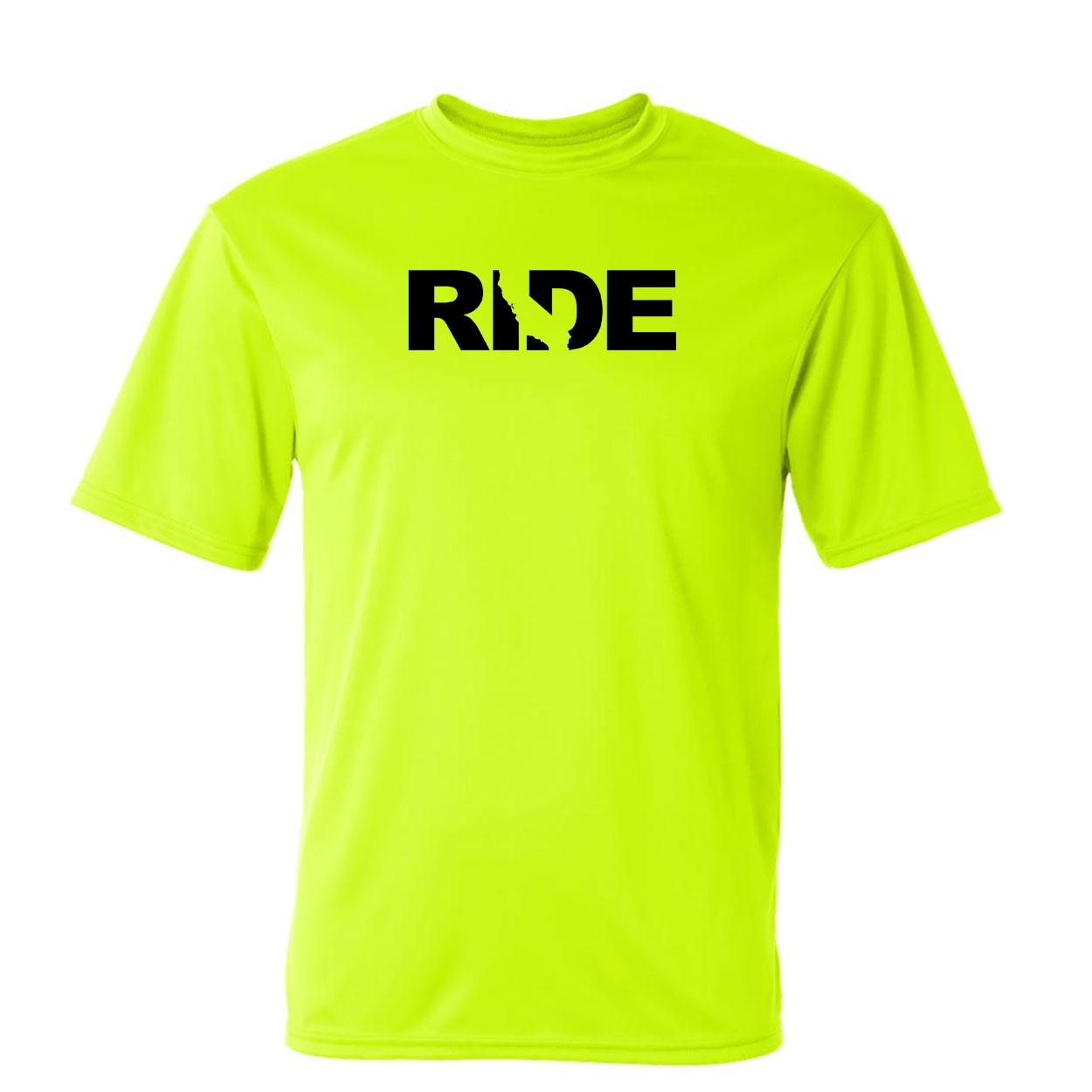 Ride California Classic Unisex Performance T-Shirt High Visibility Safety Yellow (Black Logo)