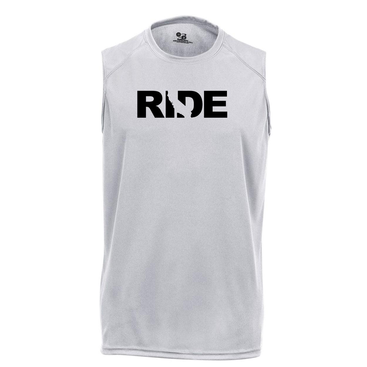 Ride California Classic Unisex Performance Sleeveless T-Shirt Silver Gray (Black Logo)