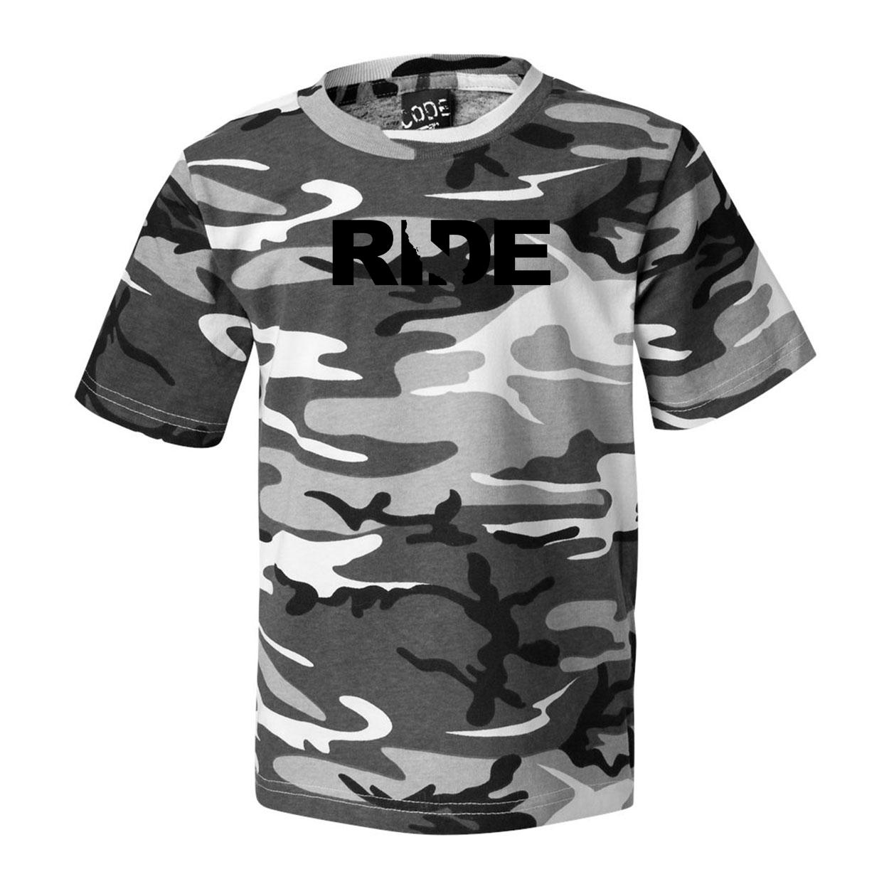 Ride California Classic Premium T-Shirt Urban Camo (Black Logo)