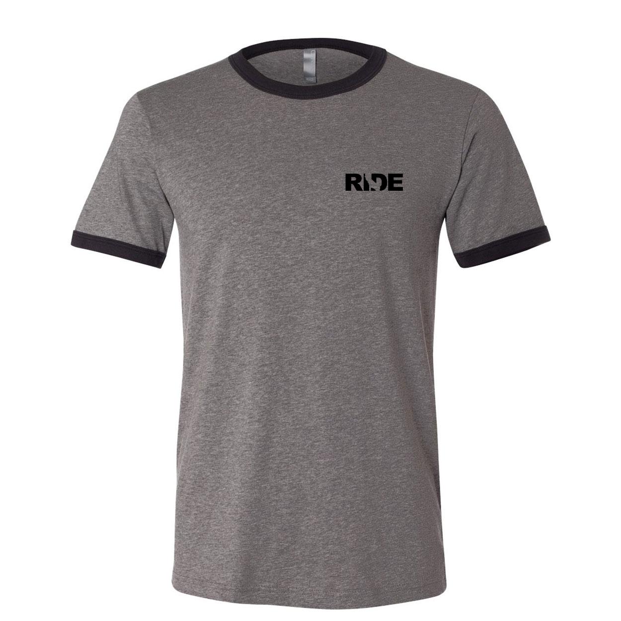 Ride California Night Out Unisex Premium Ringer T-Shirt Deep Heather Gray/Black Trim (Black Logo)