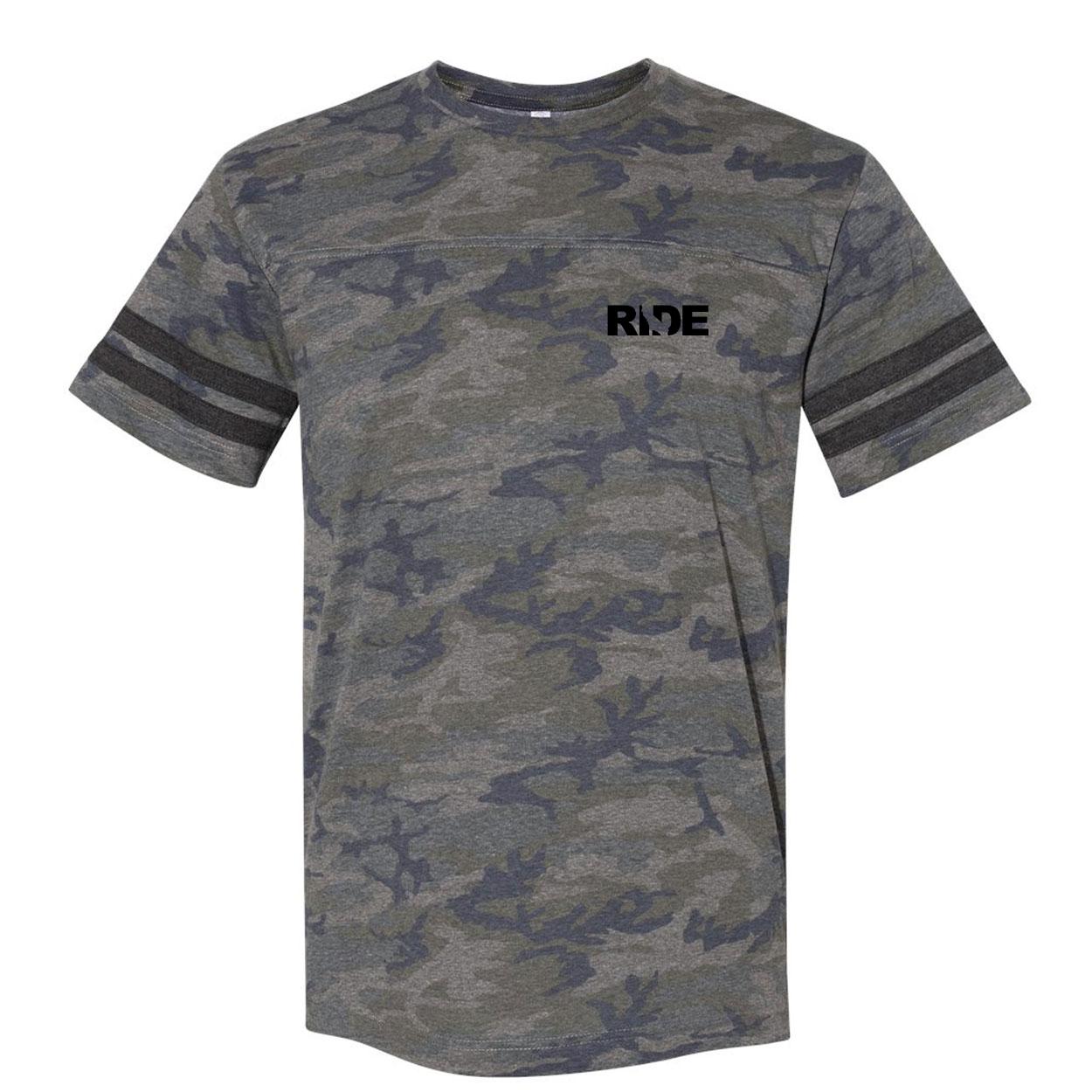Ride California Night Out Unisex Premium LAT Jersey T-Shirt Vintage Camo/Vintage Stripes (Black Logo)