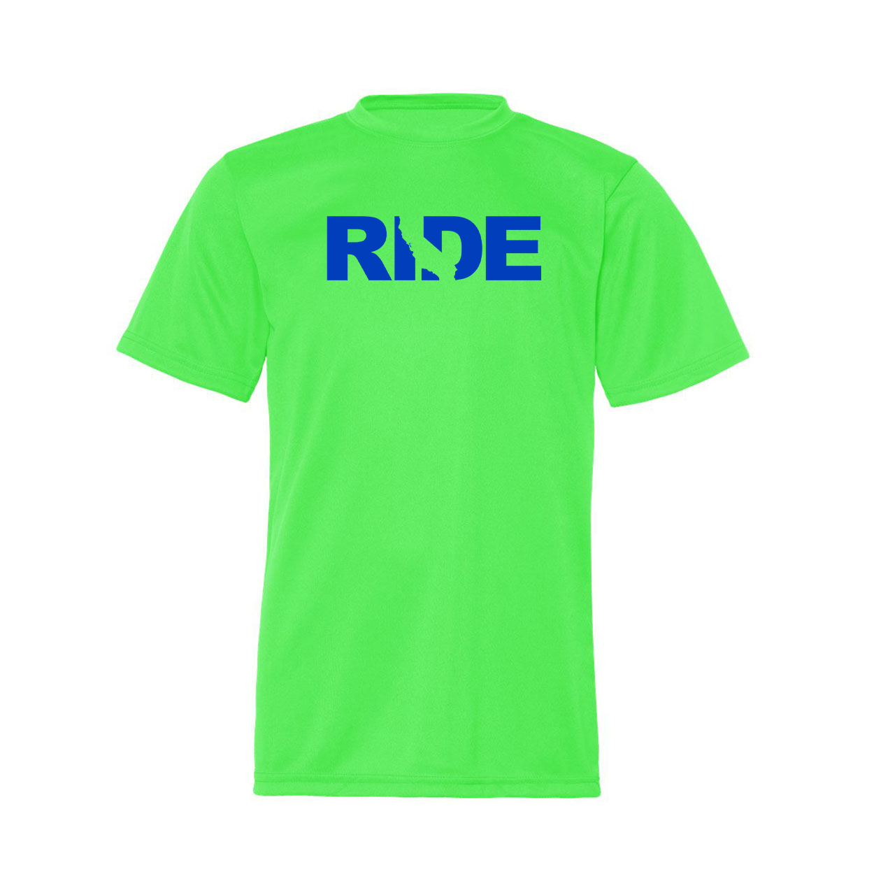Ride California Classic Youth Unisex Performance T-Shirt Lime Green (Blue Logo)