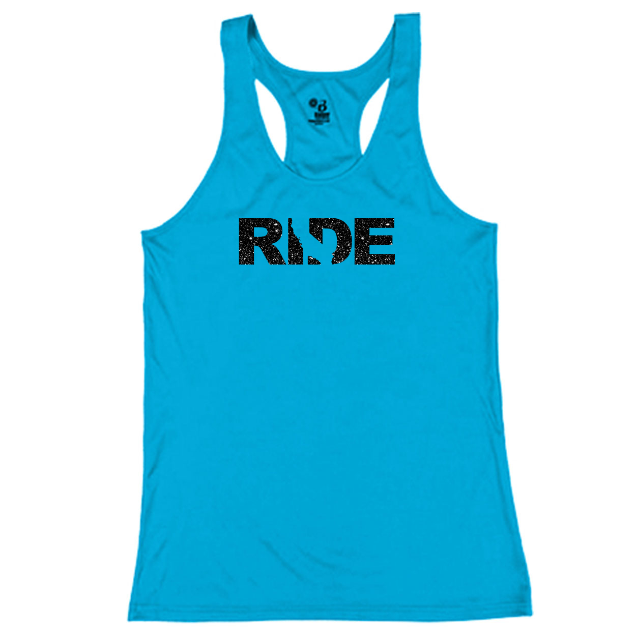 Ride California Classic Youth Girls Performance Racerback Tank Top Electric Blue (Glitter Black Logo)