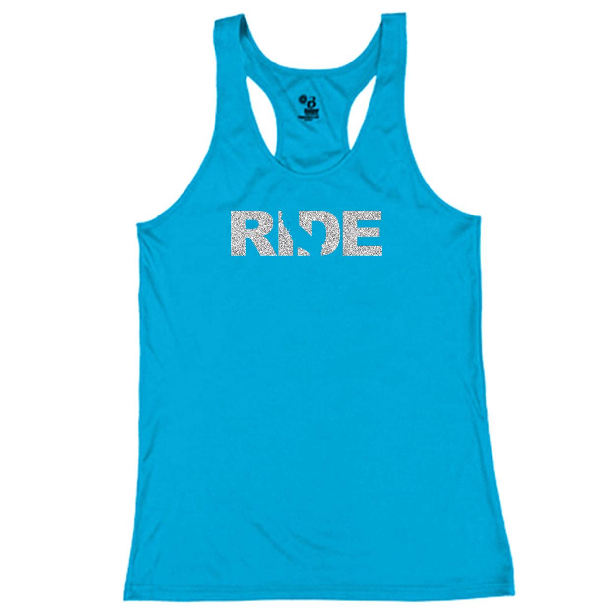 Ride California Classic Youth Girls Performance Racerback Tank Top Electric Blue (Glitter Silver Logo)