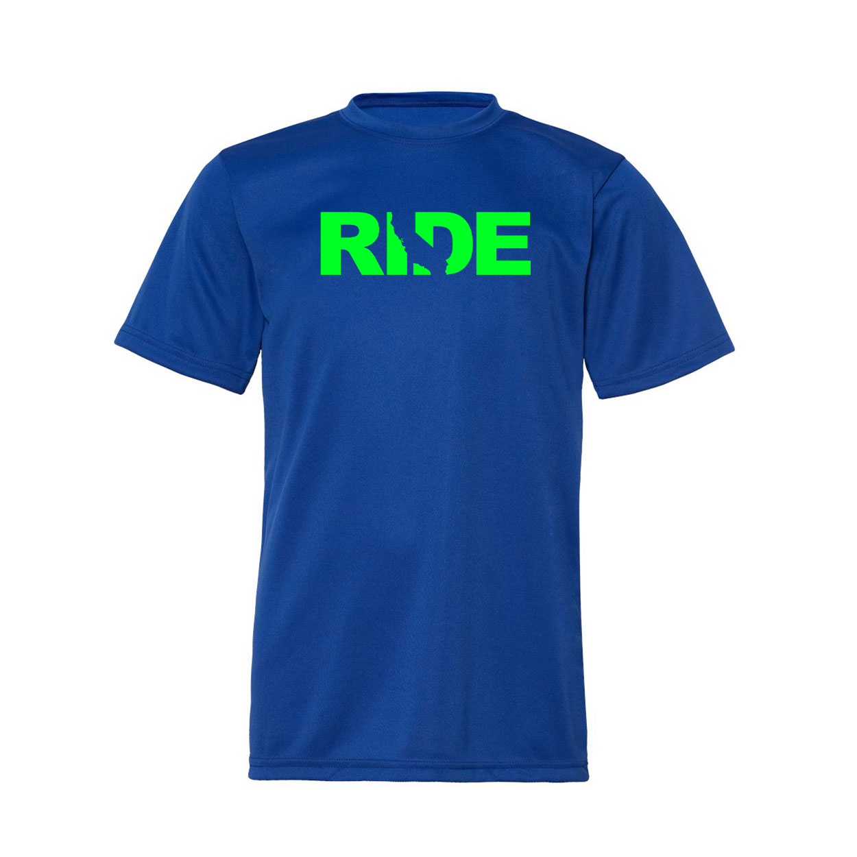 Ride California Classic Youth Unisex Performance T-Shirt Royal Blue (Green Logo)