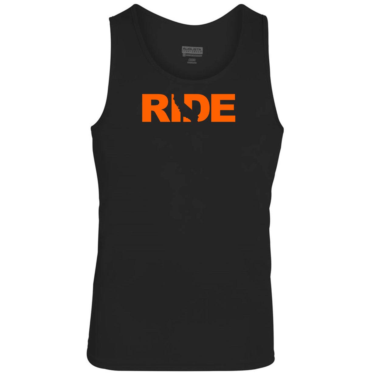 Ride California Classic Youth Unisex Performance Tank Top Black (Orange Logo)