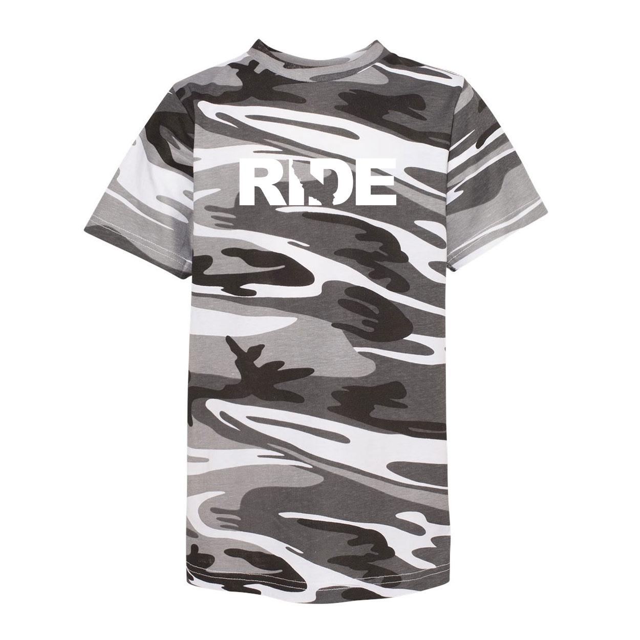 Ride California Classic Youth Unisex T-Shirt Urban Camo (White Logo)