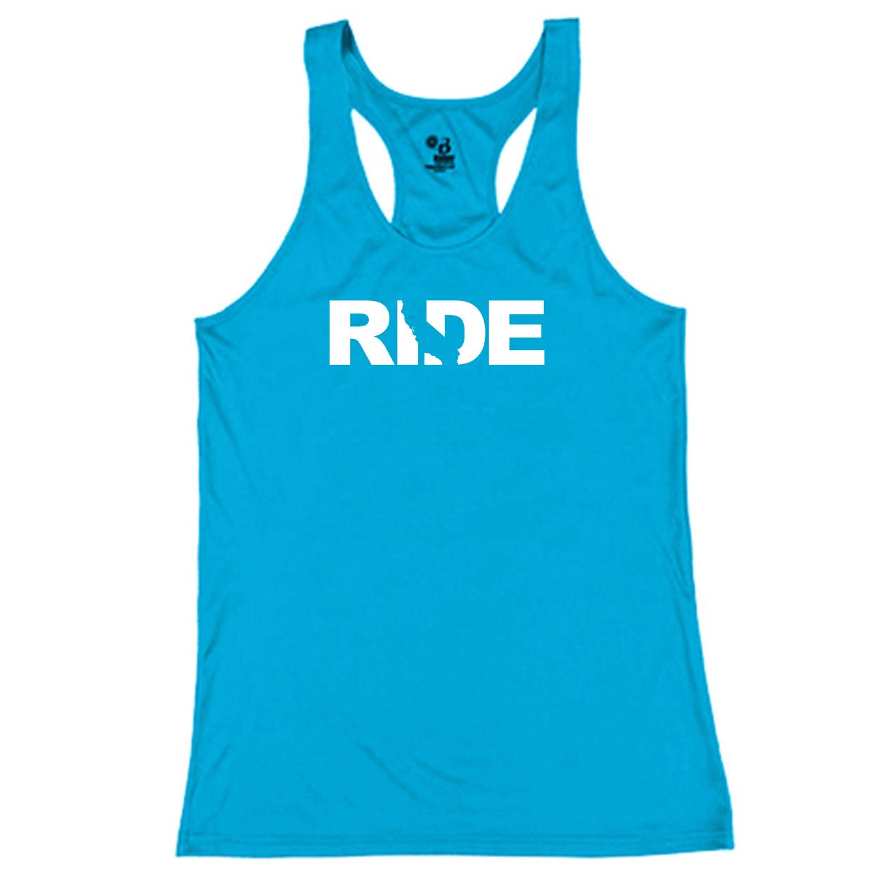 Ride California Classic Youth Girls Performance Racerback Tank Top Electric Blue (White Logo)