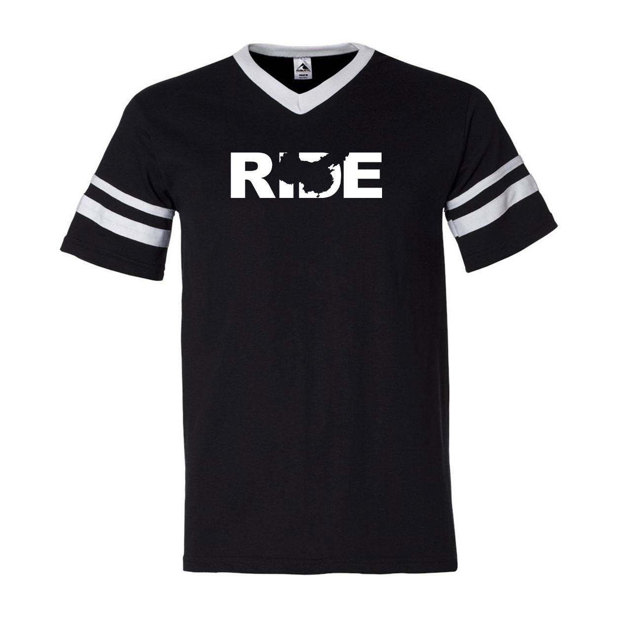 Ride China Classic Premium Striped Jersey T-Shirt Black/White (White Logo)