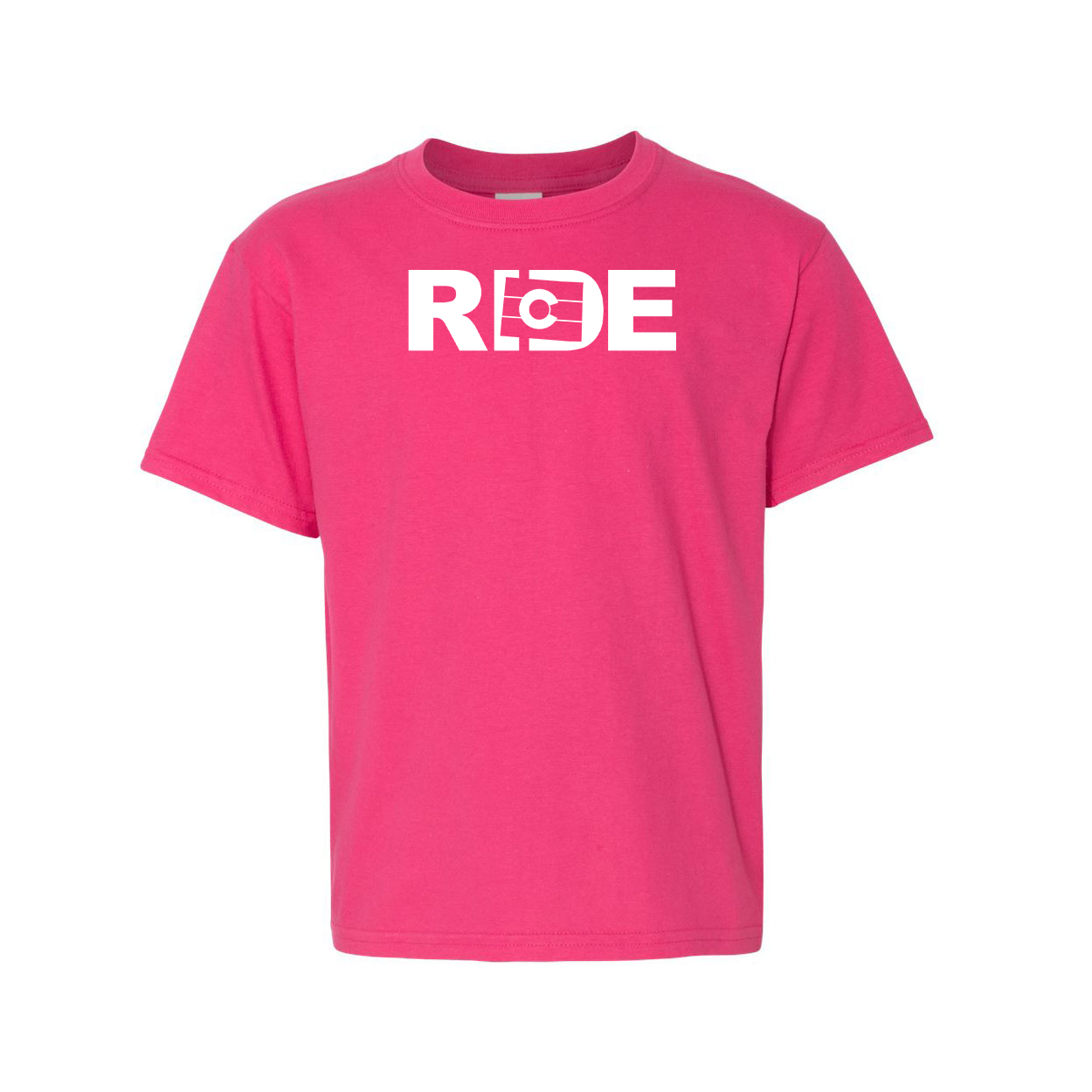 Ride Colorado Night Out Youth T-Shirt Pink (White Logo)
