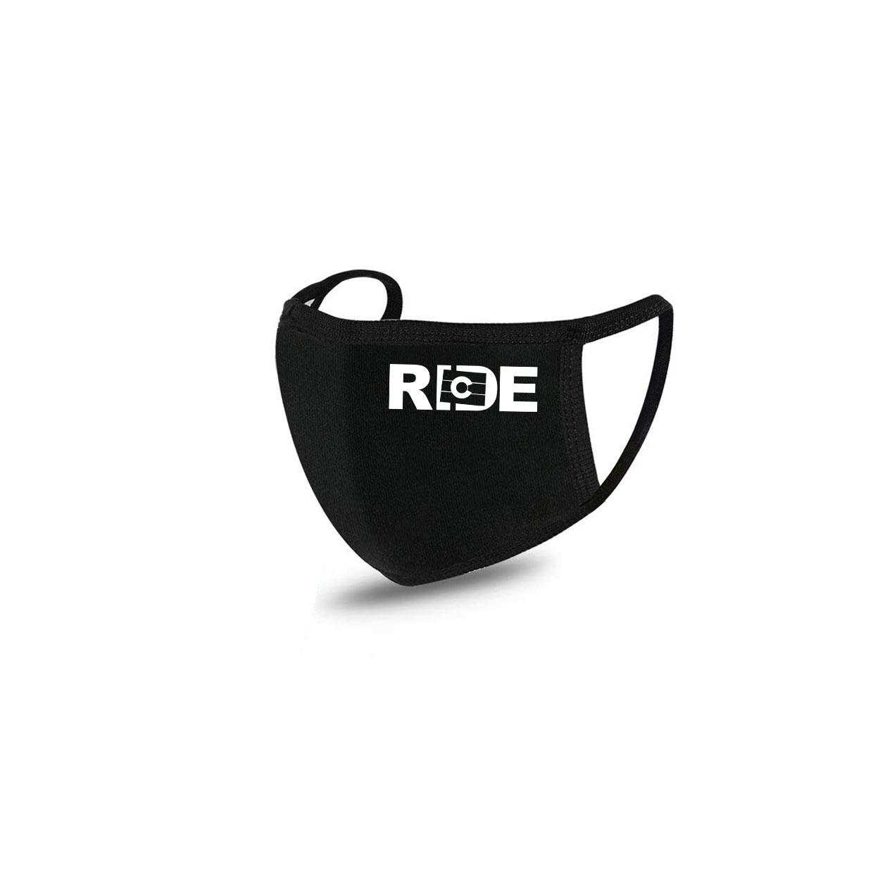 Ride Colorado Standard Washable Face Mask Black (White Logo)