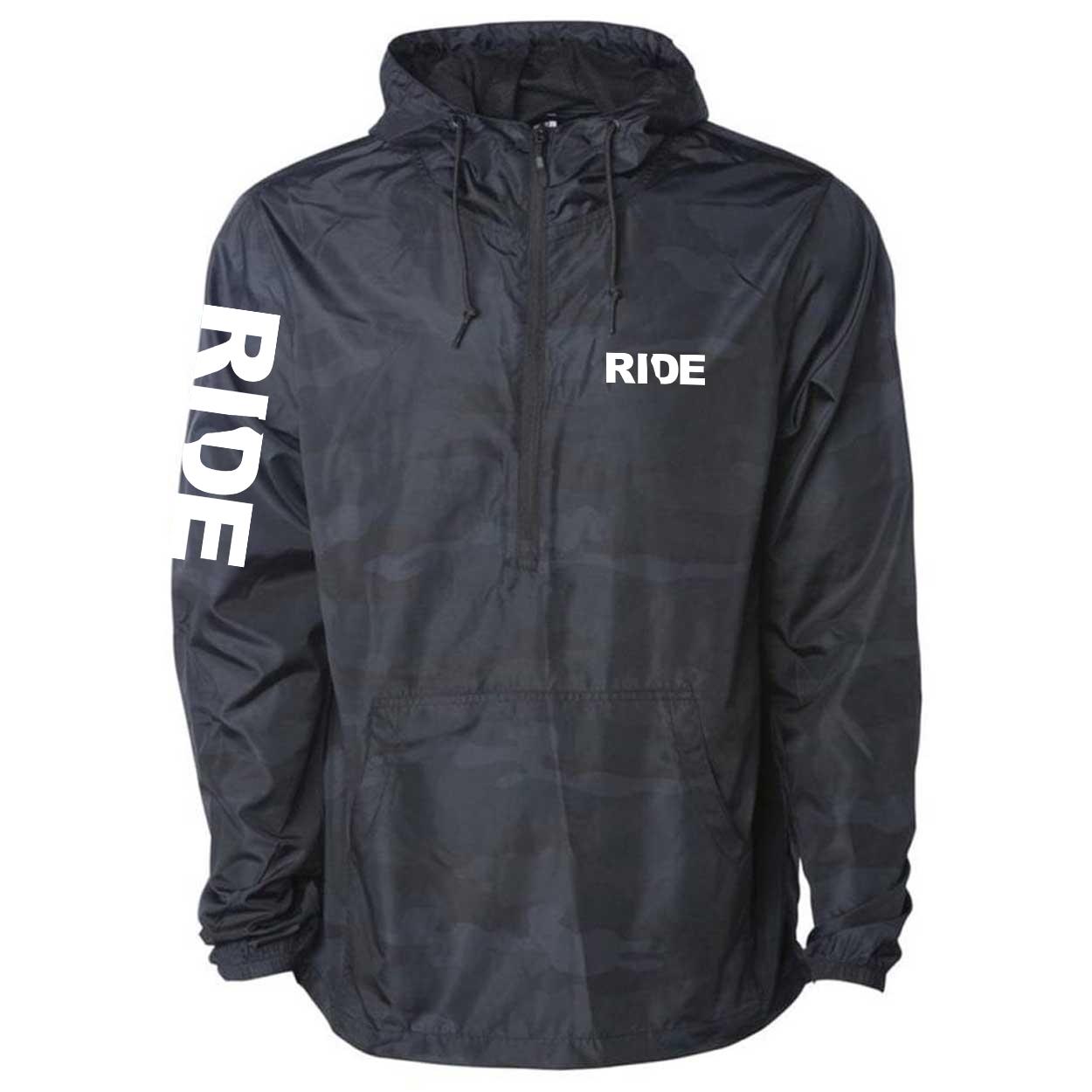 Ride Delaware Classic Lightweight Pullover Windbreaker Black Camo (White Logo)