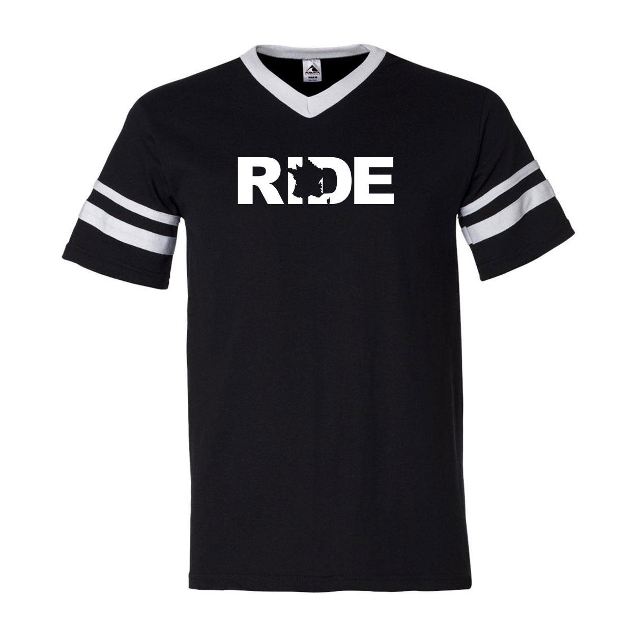 Ride France Classic Premium Striped Jersey T-Shirt Black/White (White Logo)