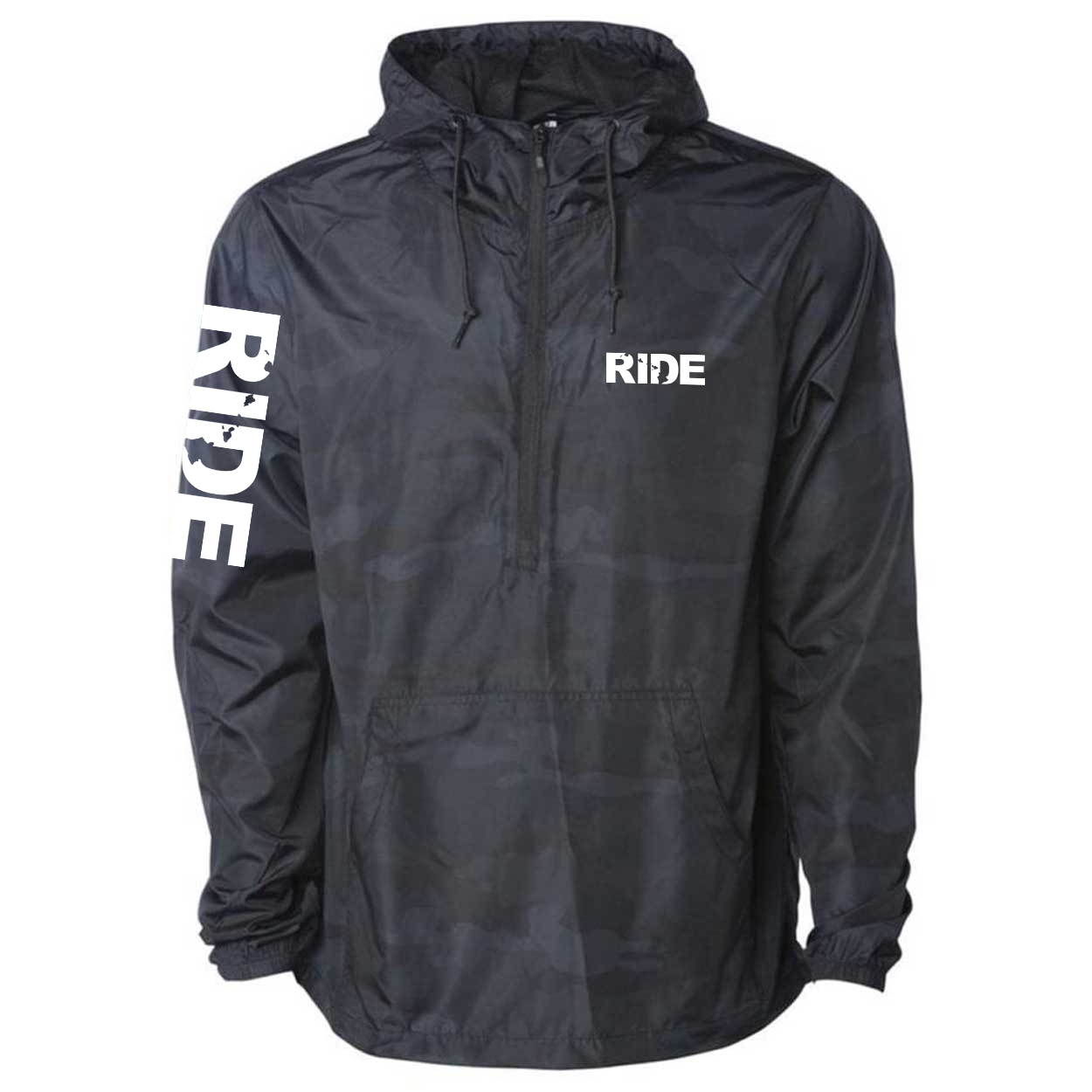 Ride Hawaii Classic Lightweight Pullover Windbreaker Black Camo (White Logo)