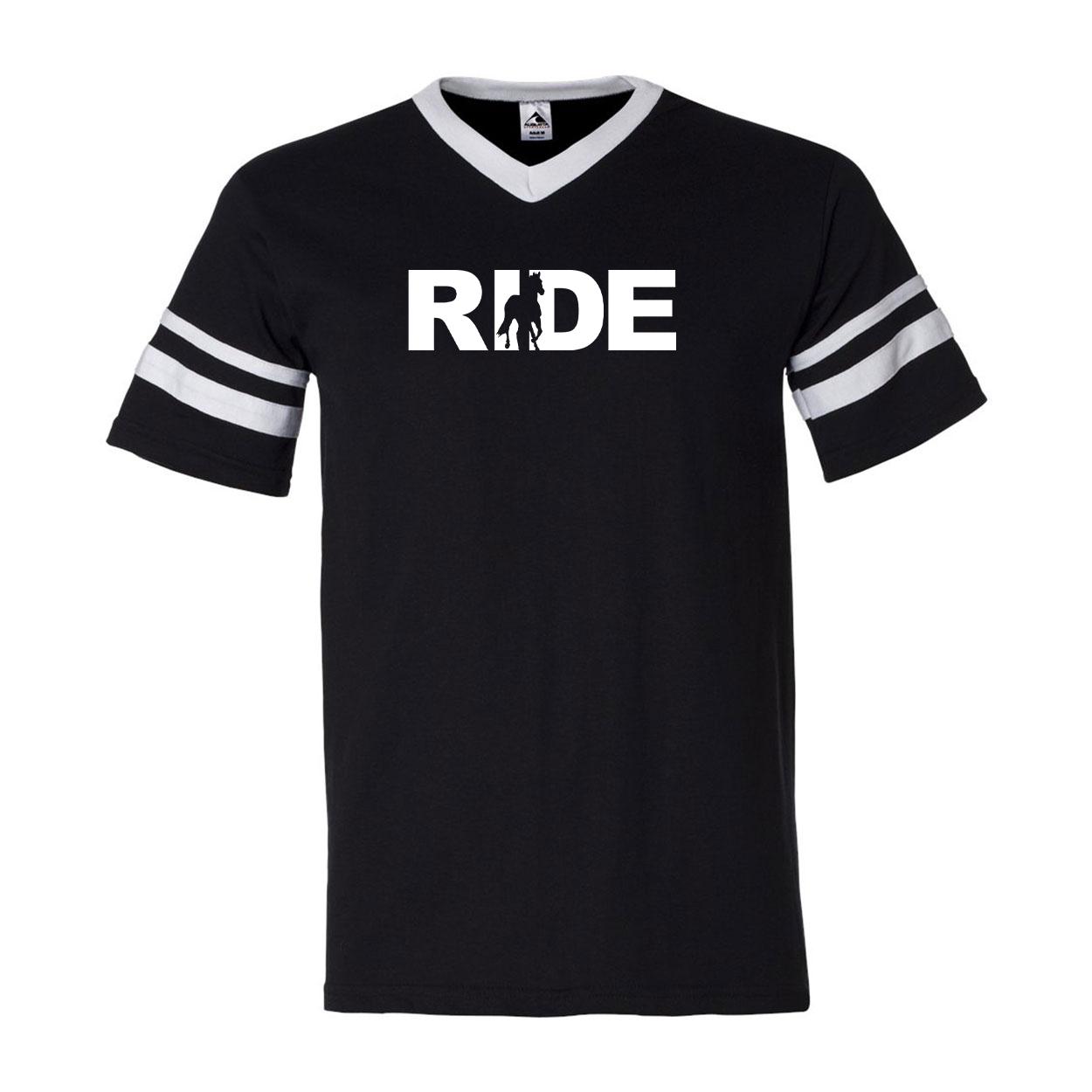Ride Horse Logo Classic Premium Striped Jersey T-Shirt Black/White (White Logo)