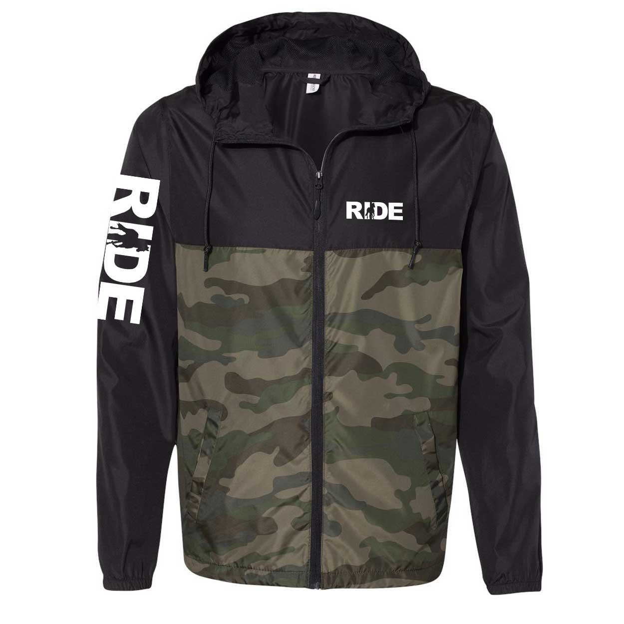 Ride Horse Logo Classic Lightweight Windbreaker Black/Forest Camo (White Logo)