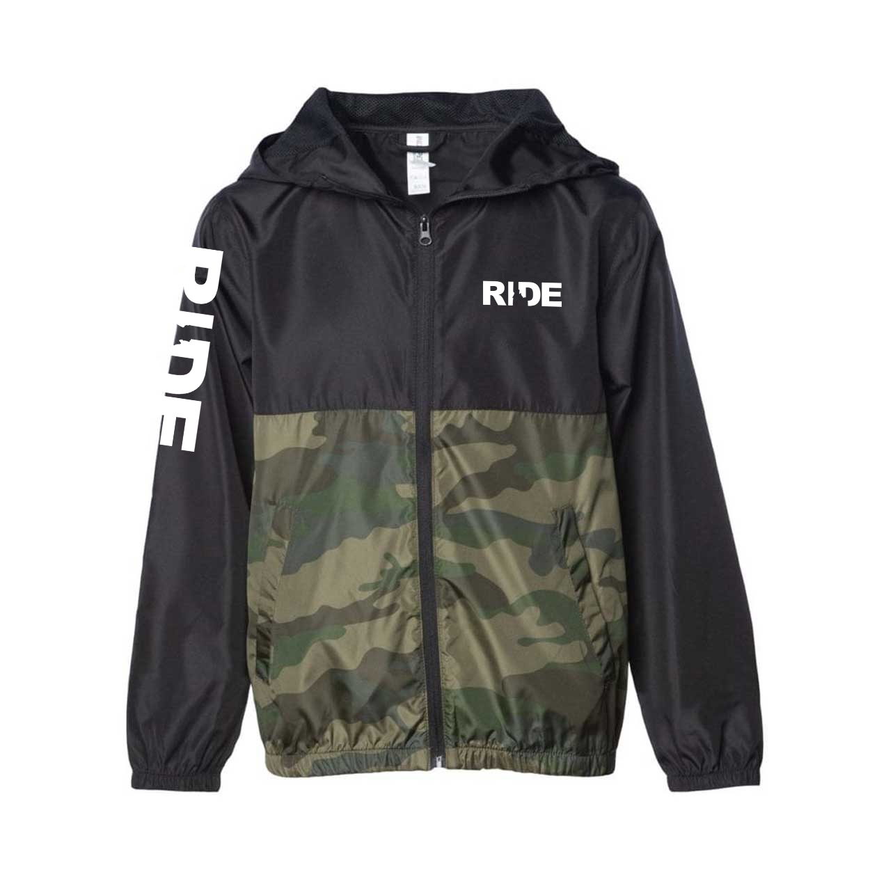 Ride Idaho Classic Youth Lightweight Windbreaker Black/Forest Camo (White Logo)