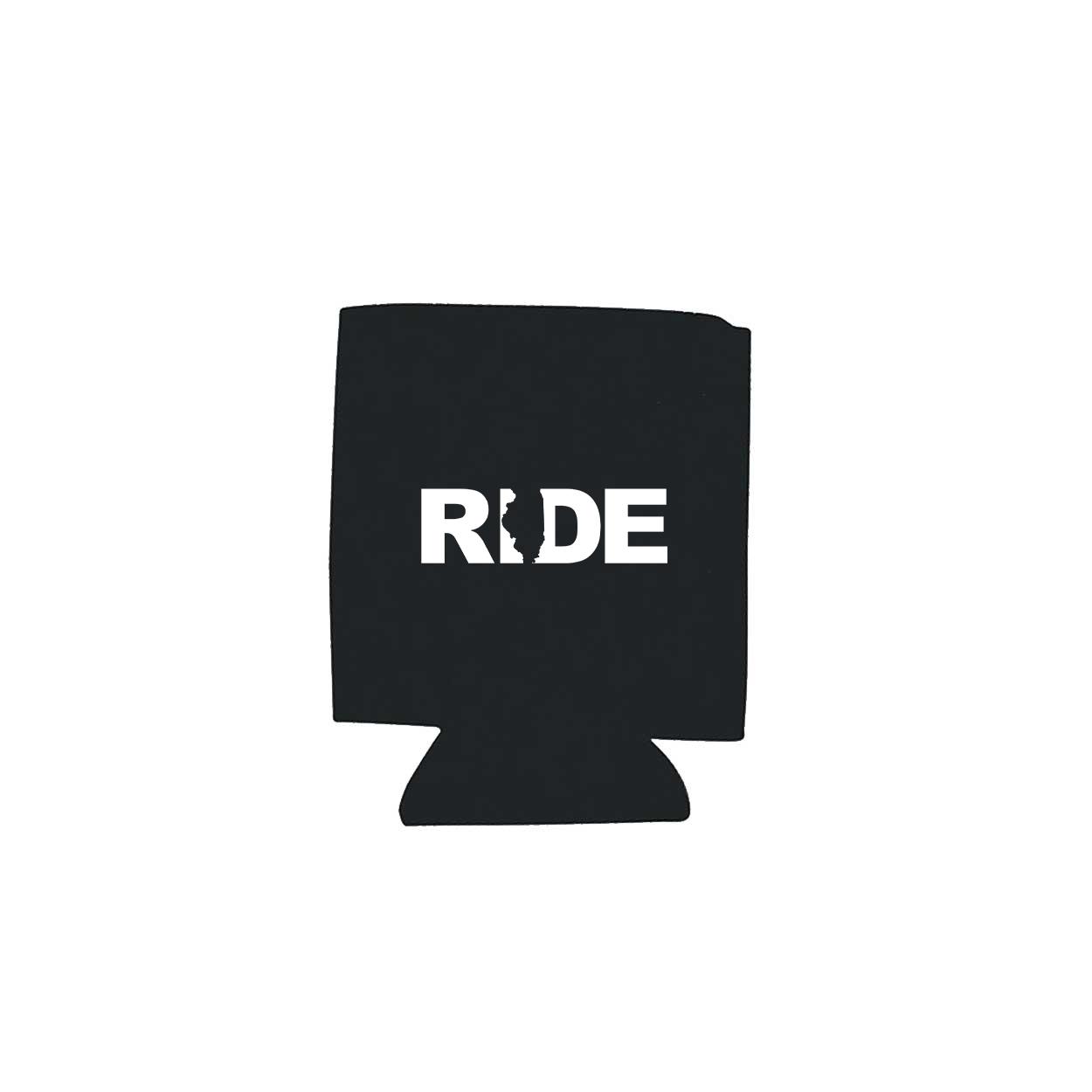 Ride Illinois Koozie Black (White Logo)