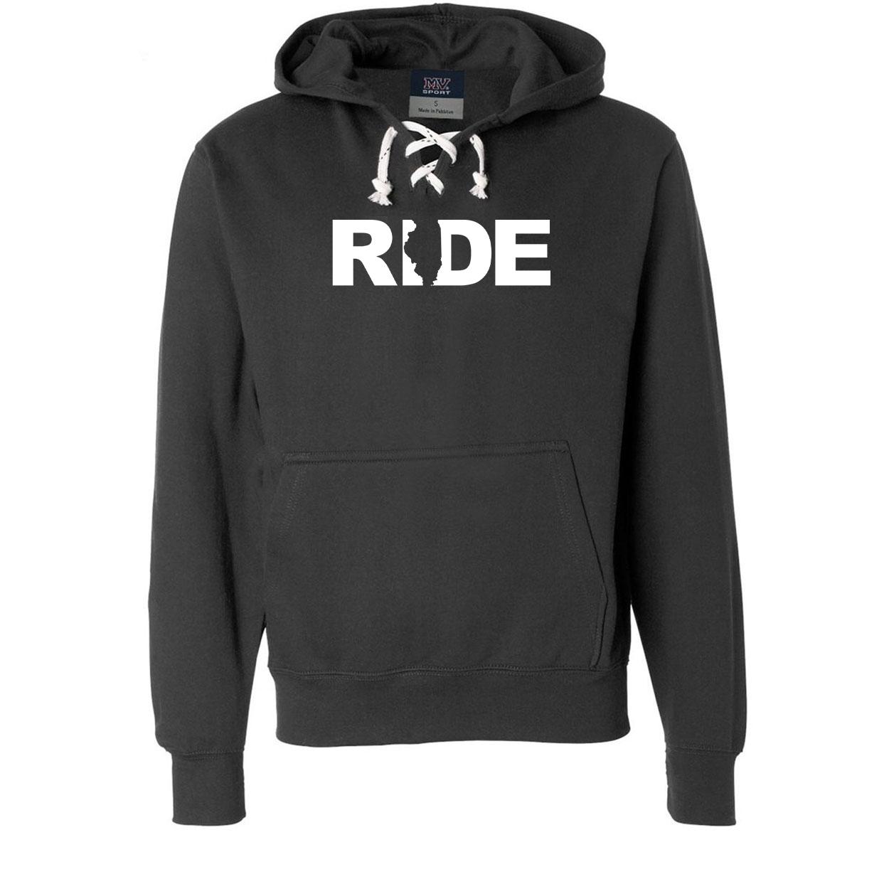 Ride Illinois Classic Unisex Premium Hockey Sweatshirt Black (White Logo)