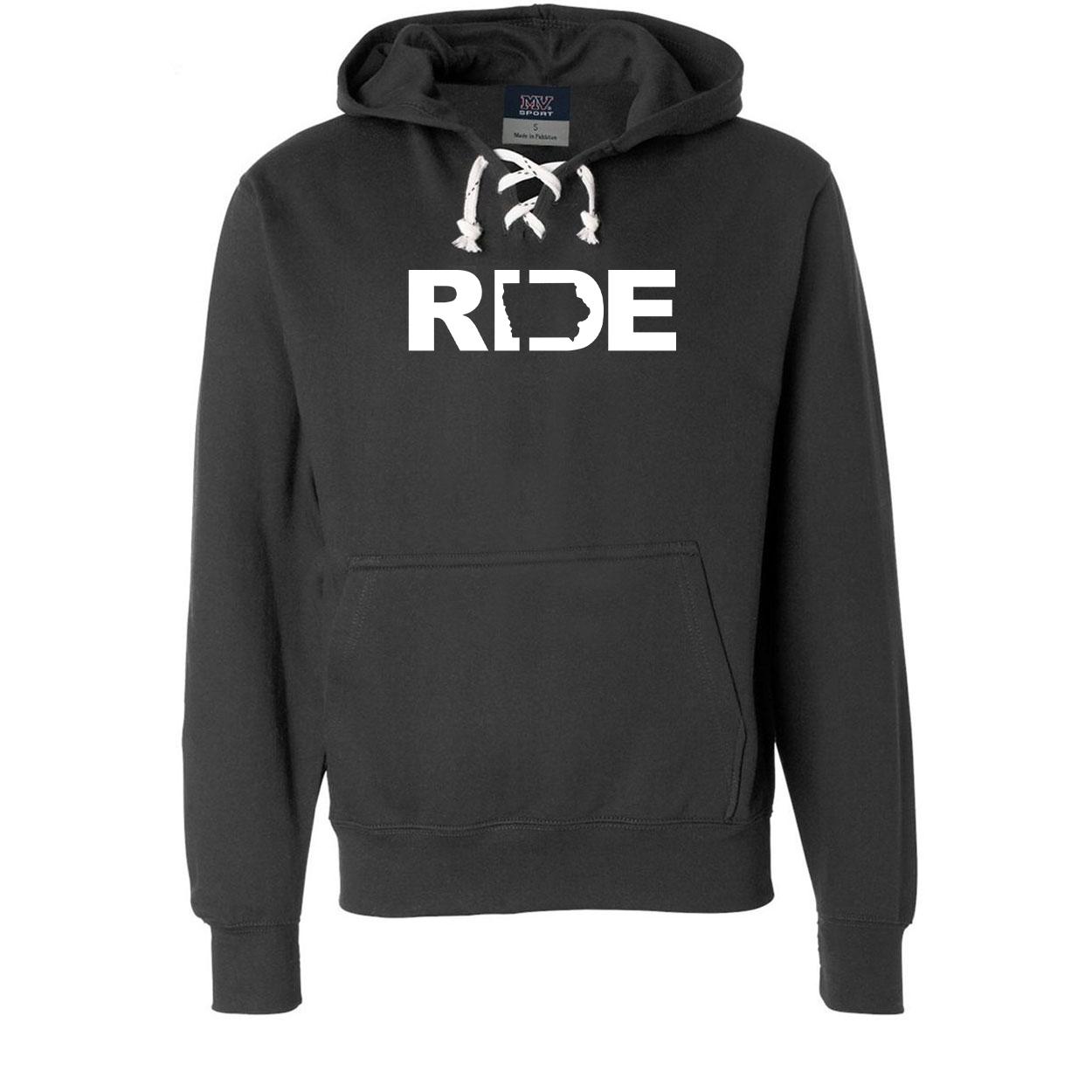 Ride Iowa Classic Unisex Premium Hockey Sweatshirt Black (White Logo)