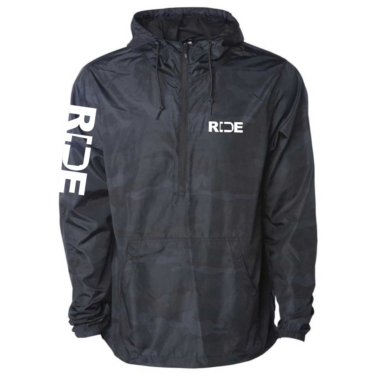 Ride Kansas Classic Lightweight Pullover Windbreaker Black Camo (White Logo)