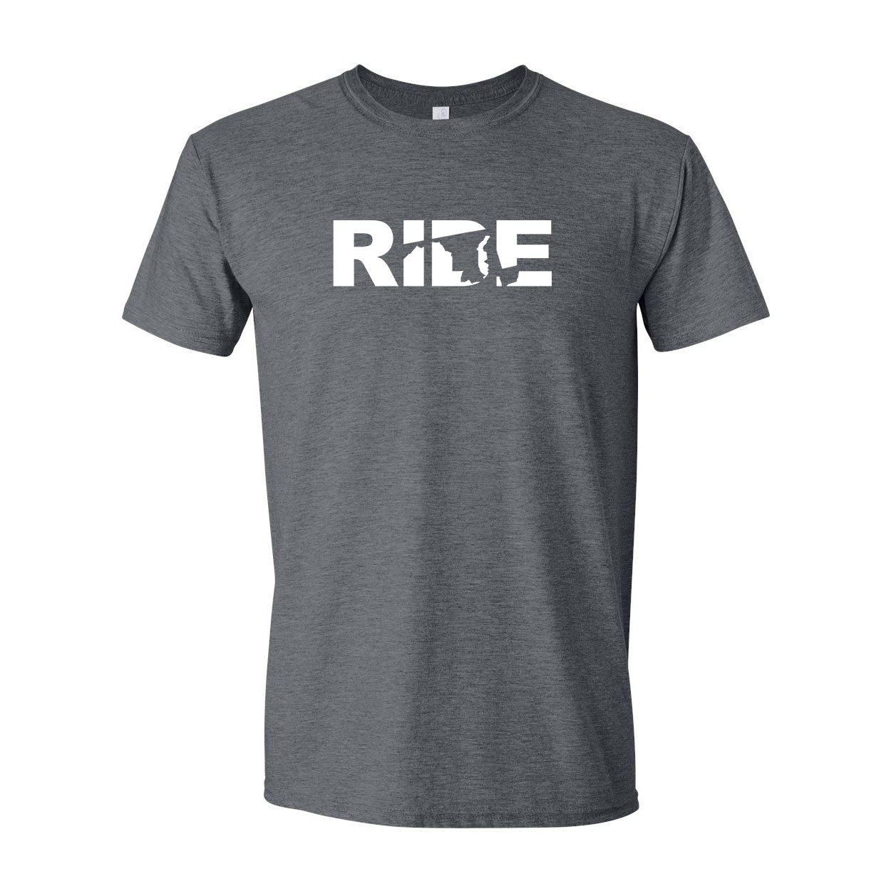 Ride Maryland Classic T-Shirt Dark Heather Gray (White Logo)