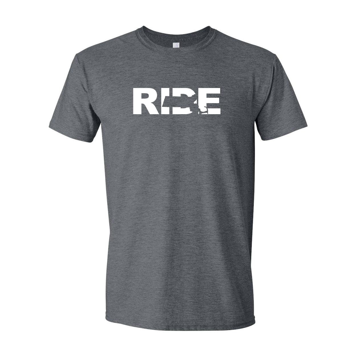 Ride Massachusetts Classic T-Shirt Dark Heather Gray (White Logo)