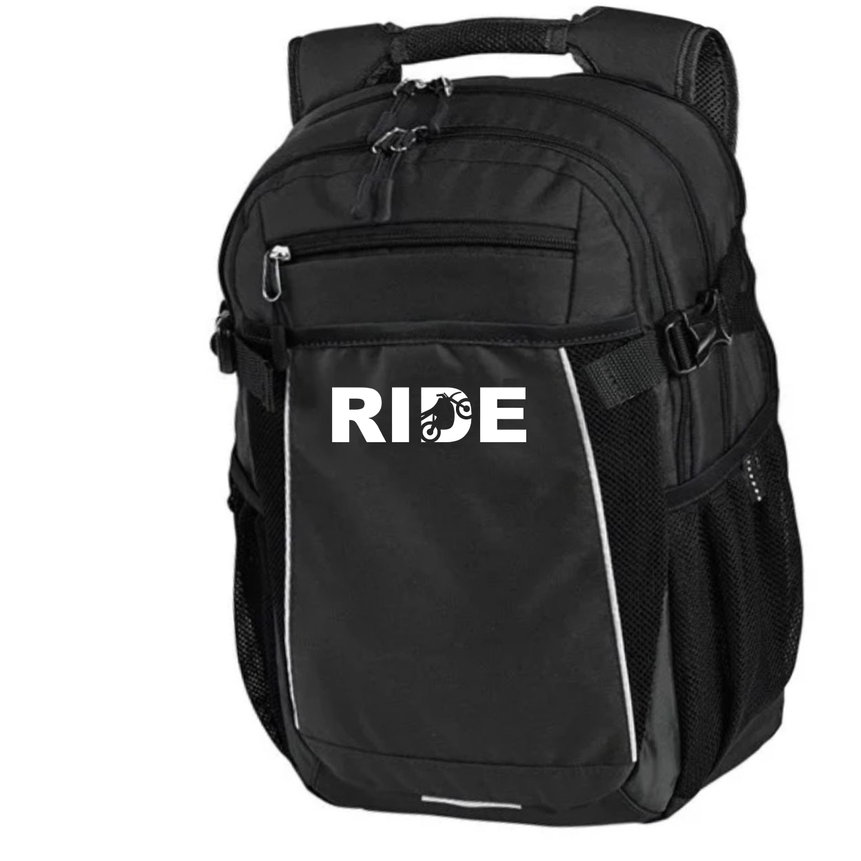 Ride Moto Logo Classic Pro Pioneer Backpack Black (White Logo)