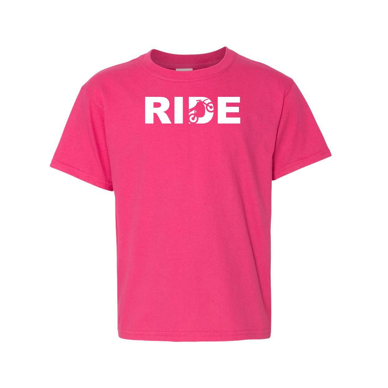 Ride Moto Logo Night Out Youth T-Shirt Pink (White Logo)