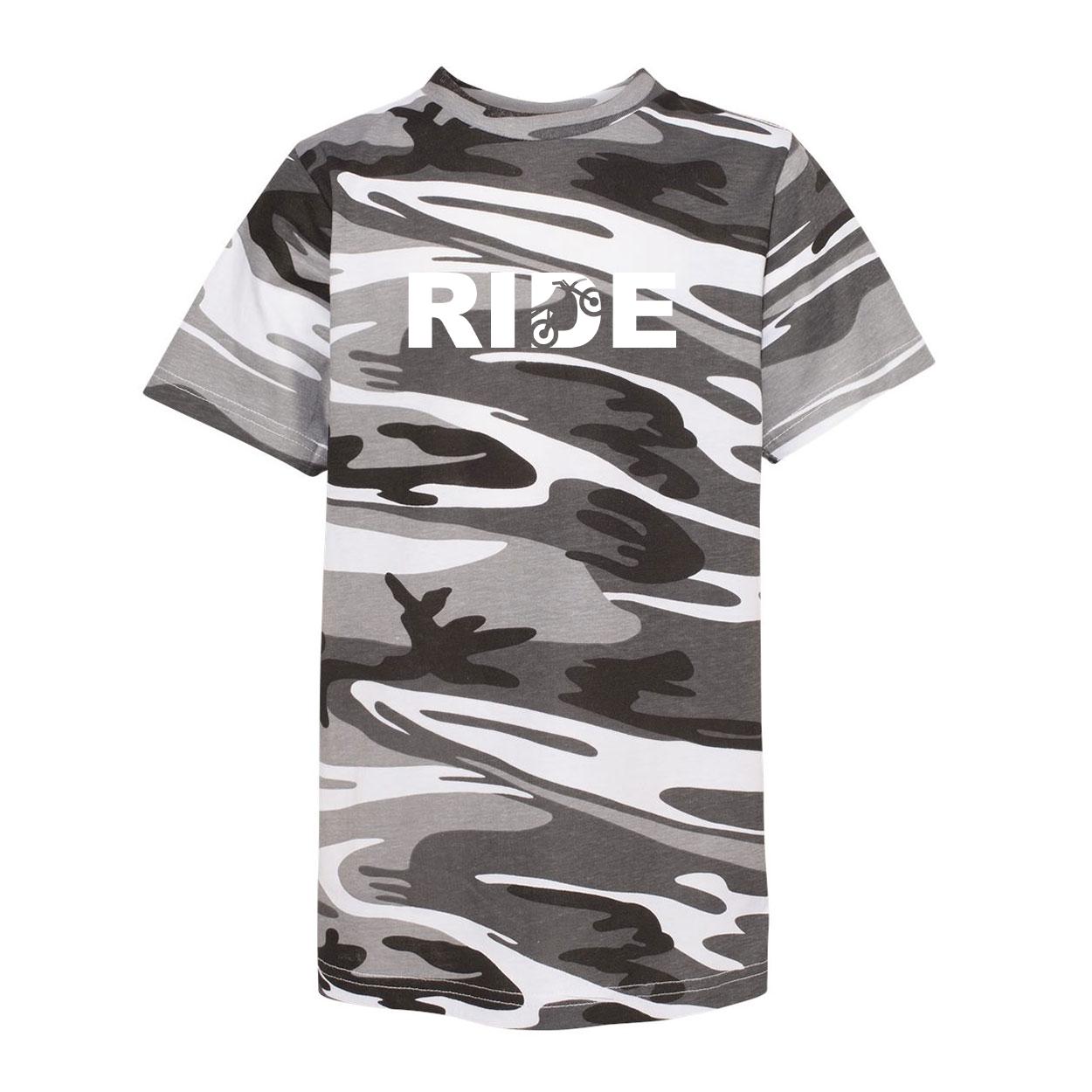 Ride Moto Logo Classic Youth Unisex T-Shirt Urban Camo (White Logo)