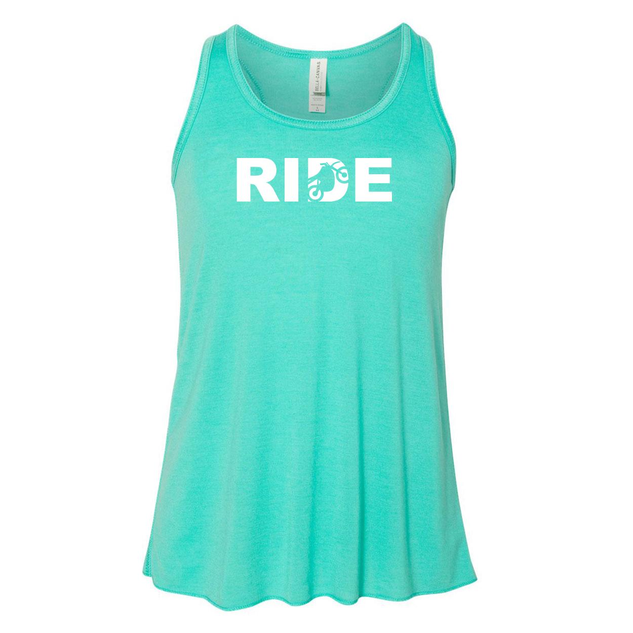 Ride Moto Logo Classic Youth Girls Flowy Racerback Tank Top Teal (White Logo)