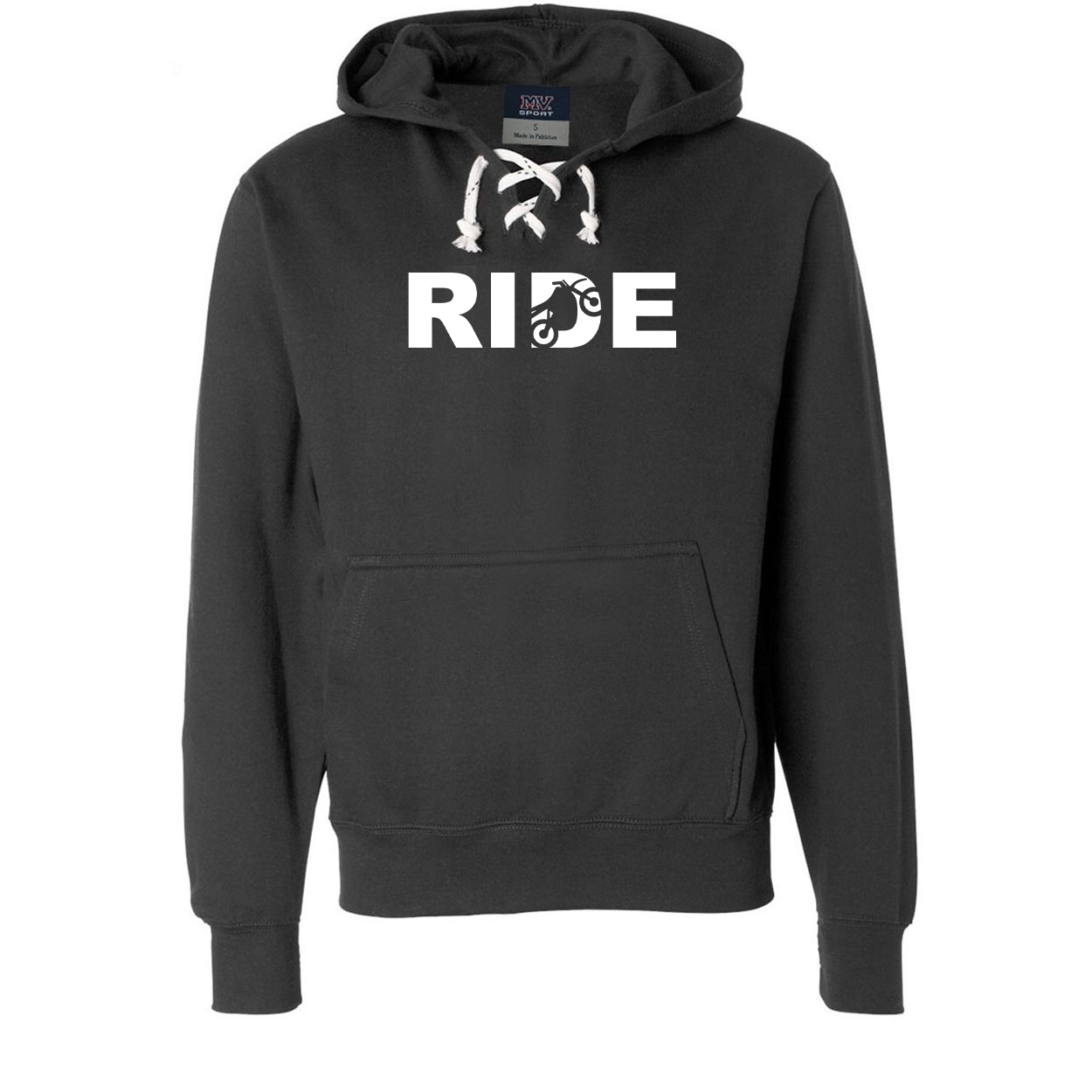 Ride Moto Logo Classic Unisex Premium Hockey Sweatshirt Black (White Logo)