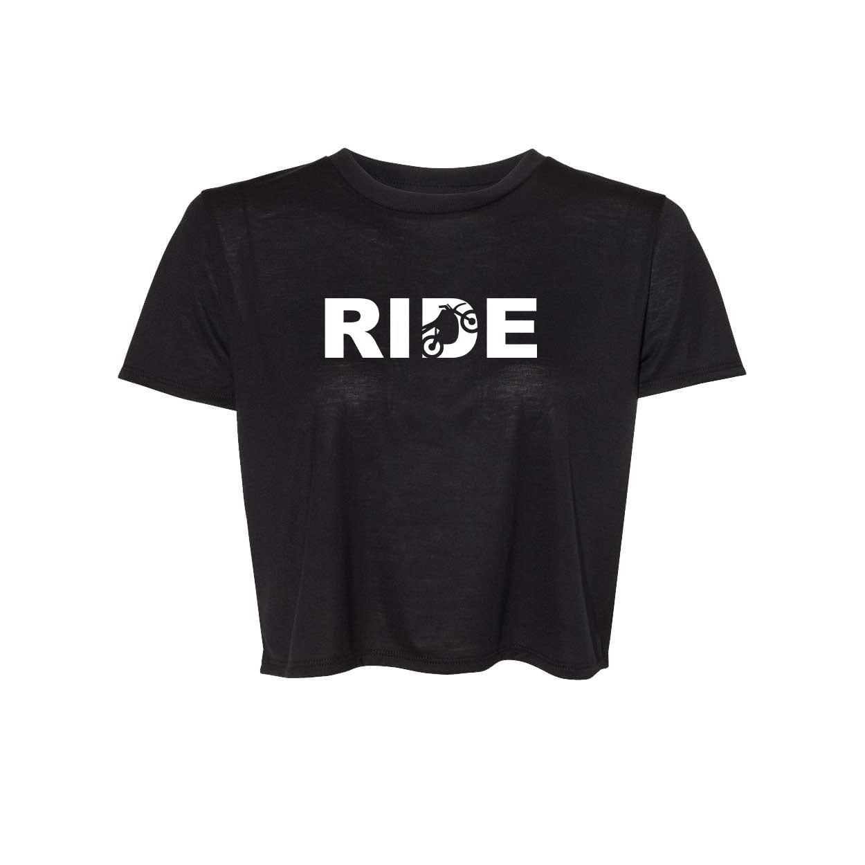 Ride Moto Logo Classic Womens Flowy Cropped Tee Black (White Logo)