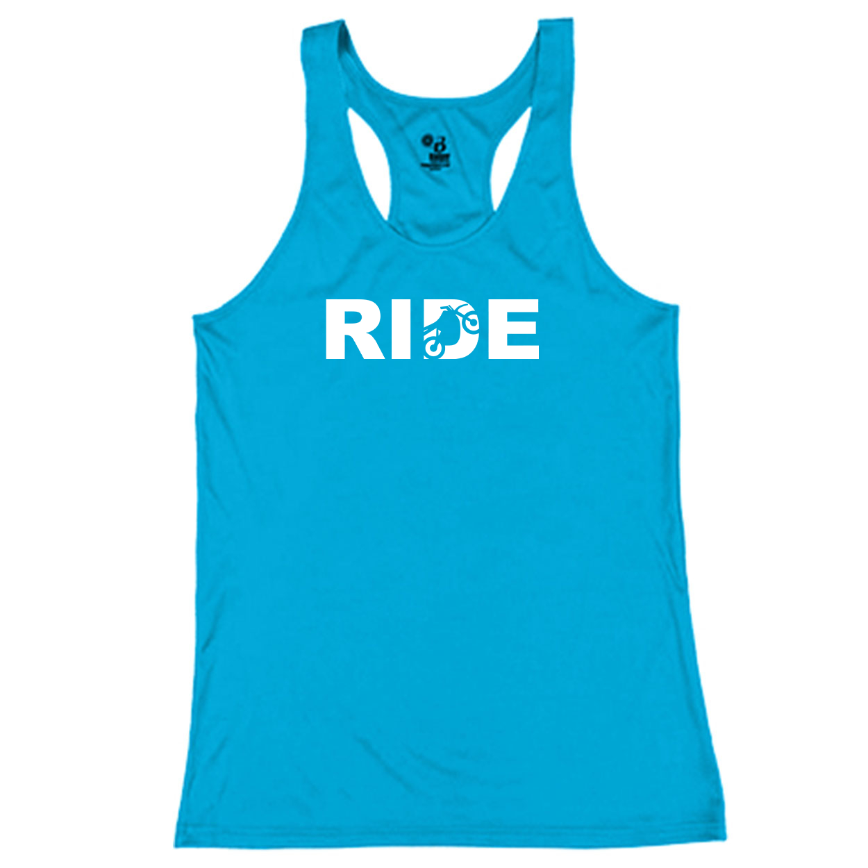 Ride Moto Logo Classic Youth Girls Performance Racerback Tank Top Electric Blue (White Logo)
