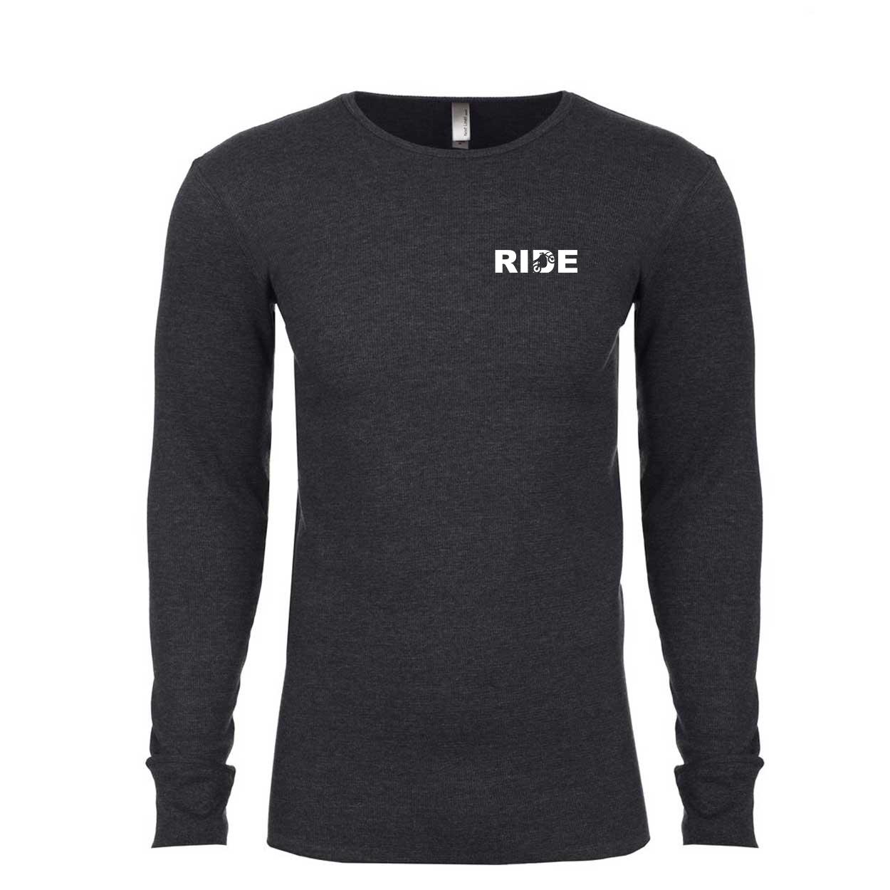 Ride Moto Logo Long Sleeve Thermal Shirt Heather Charcoal (White Logo)