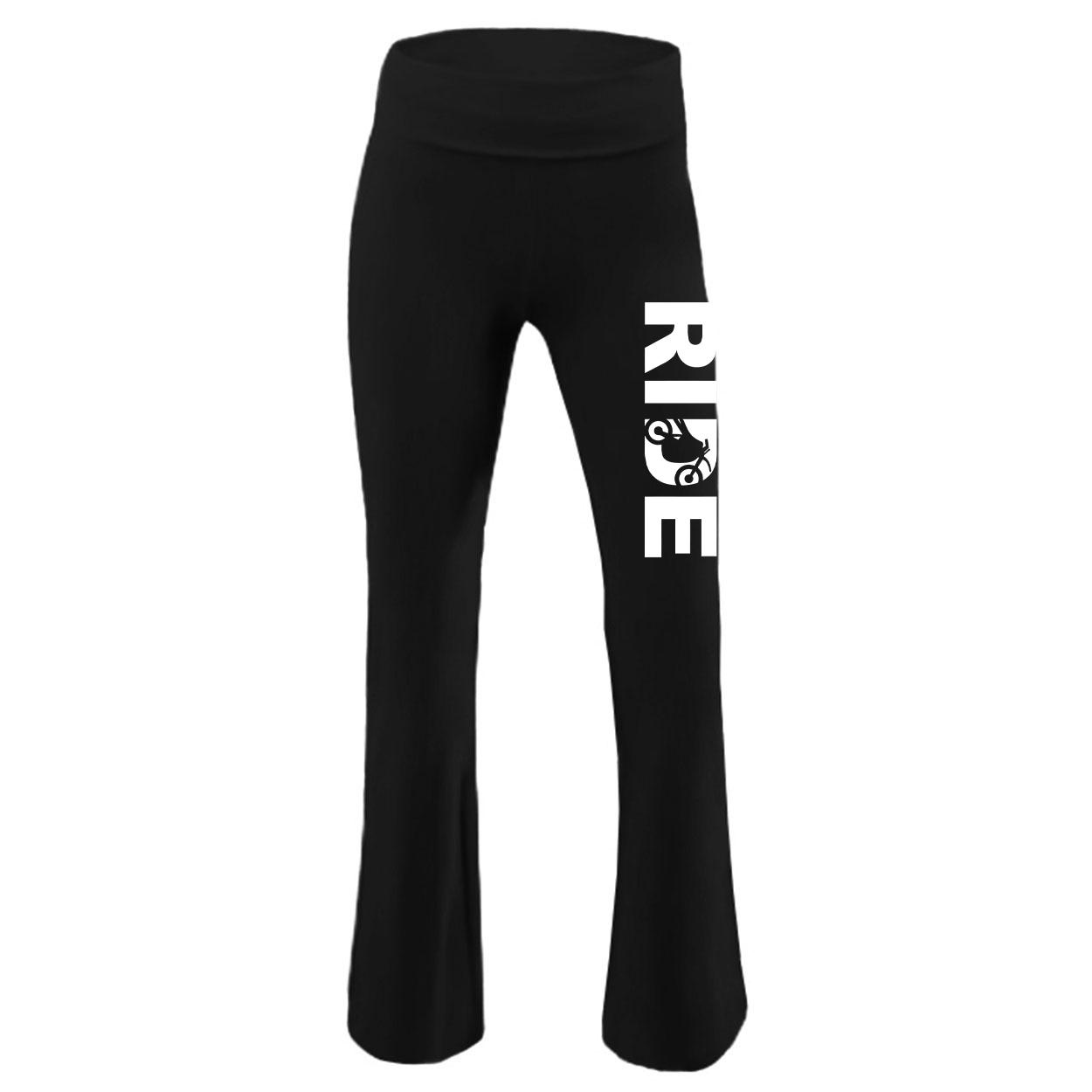 Ride Moto Logo Classic Youth Girls Yoga Pants Black (White Logo)
