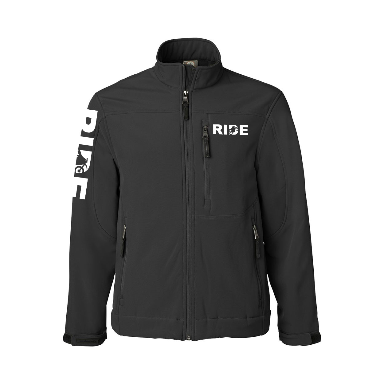Ride Moto Logo Classic Soft Shell Weatherproof Jacket (White Logo)