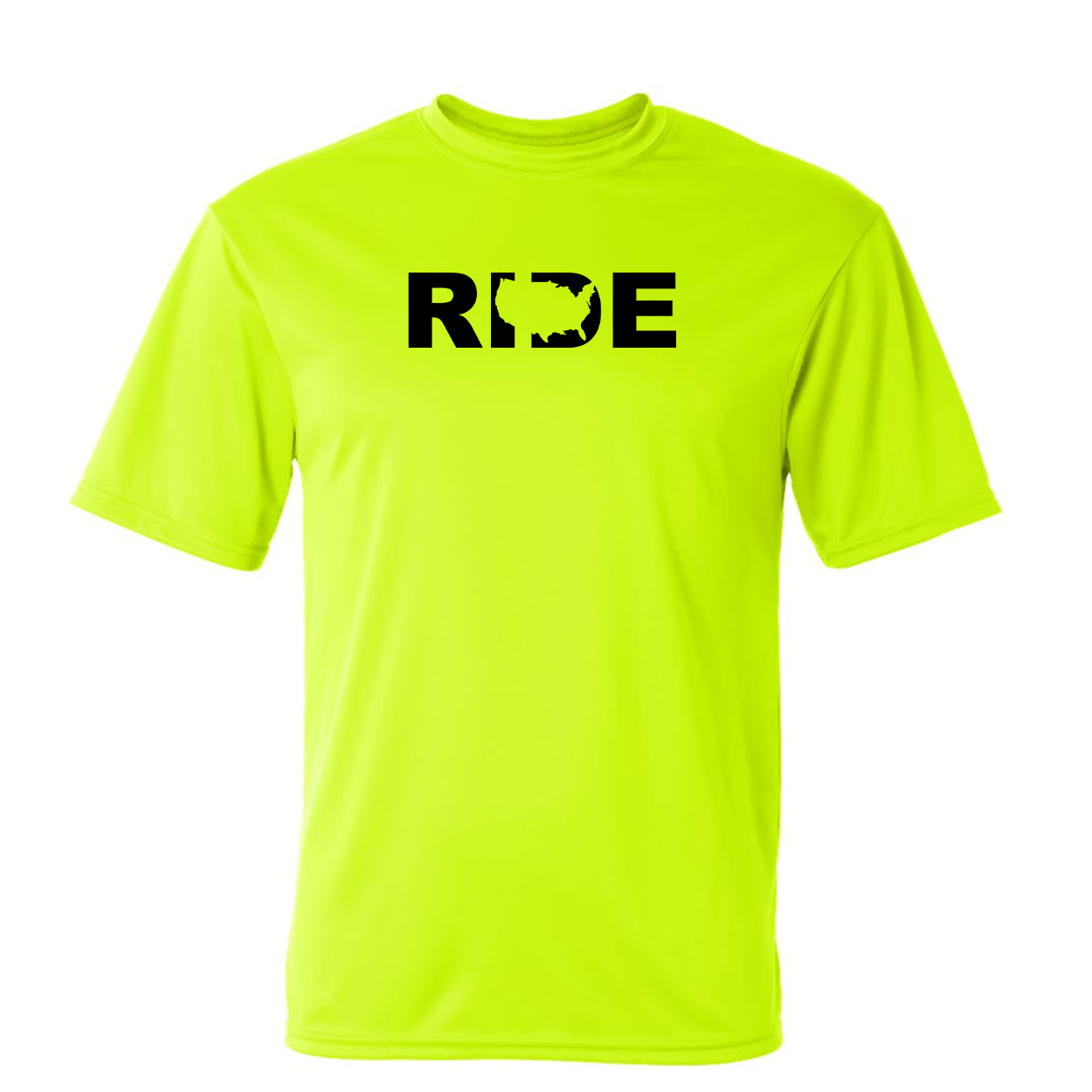 Ride United States Classic Unisex Performance T-Shirt High Visibility Safety Yellow (Black Logo)