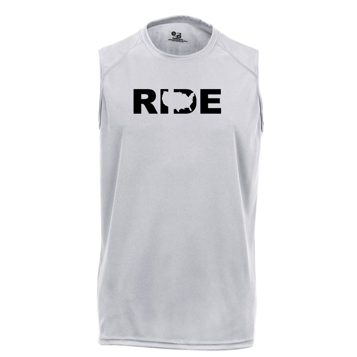 Ride United States Classic Unisex Performance Sleeveless T-Shirt Silver Gray (Black Logo)
