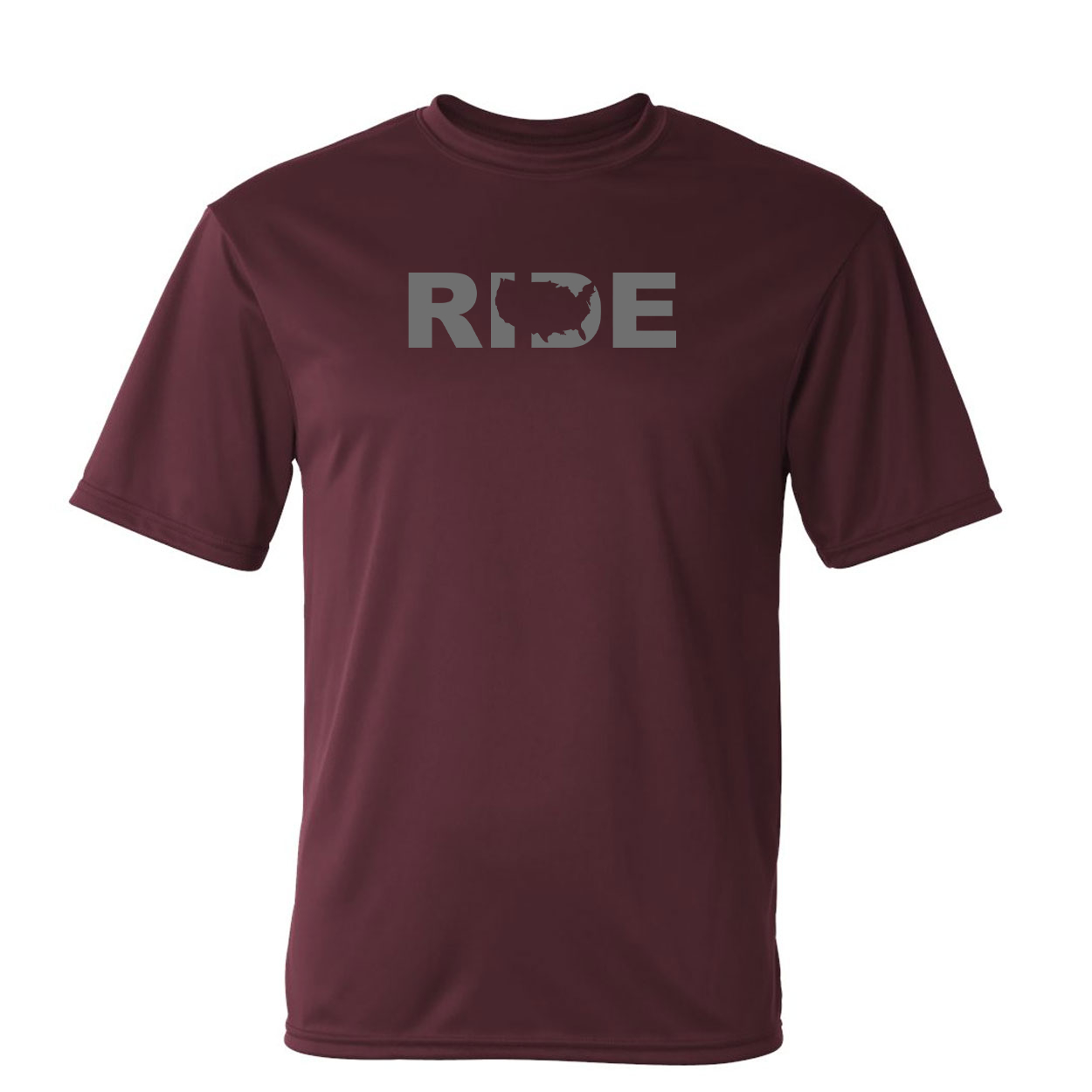 Ride United States Classic Unisex Performance T-Shirt Maroon (Gray Logo)