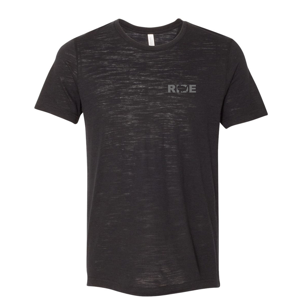 Ride United States Night Out Unisex Premium Texture T-Shirt Solid Black Slub (Gray Logo)