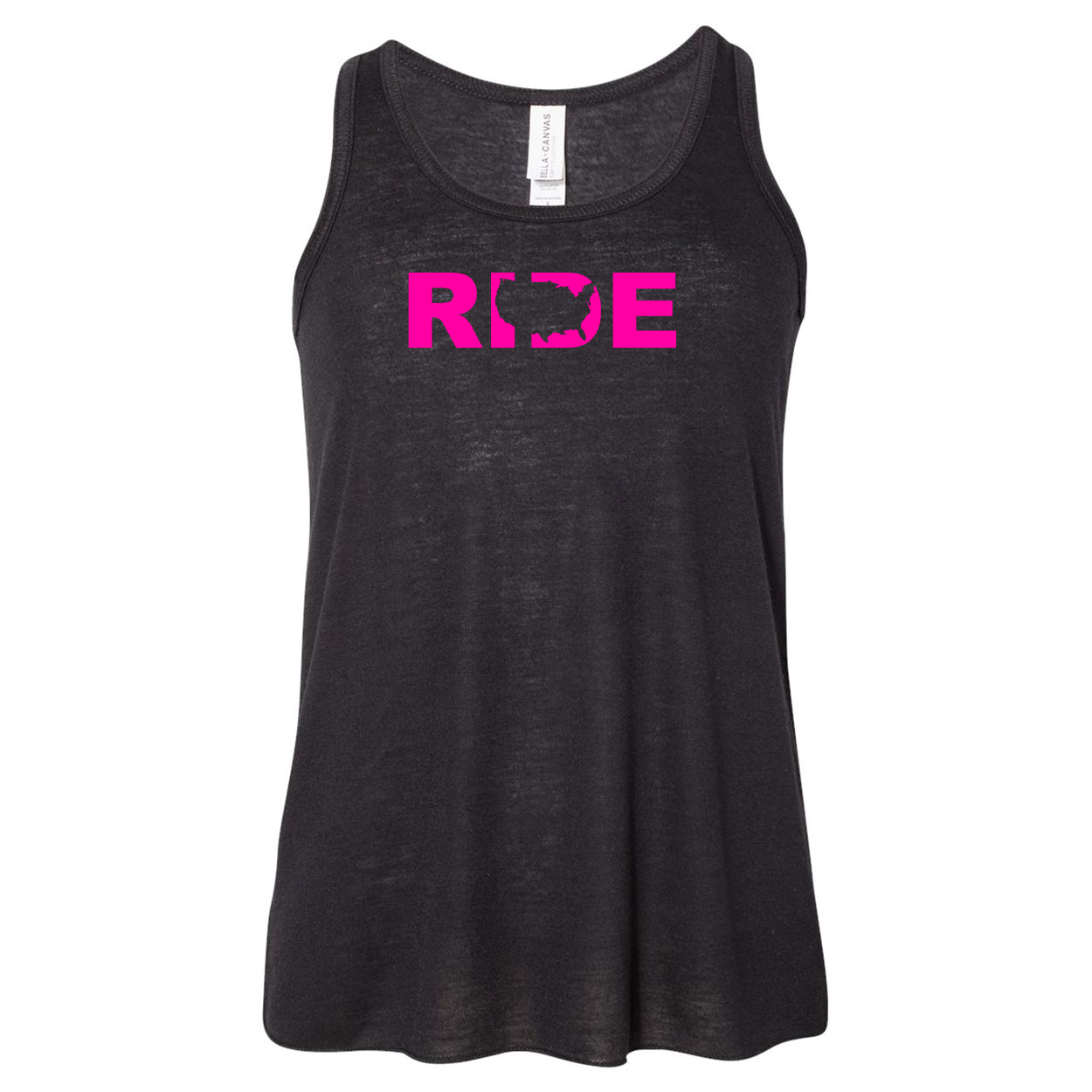 Ride United States Classic Youth Girls Flowy Racerback Tank Top Black (Pink Logo)